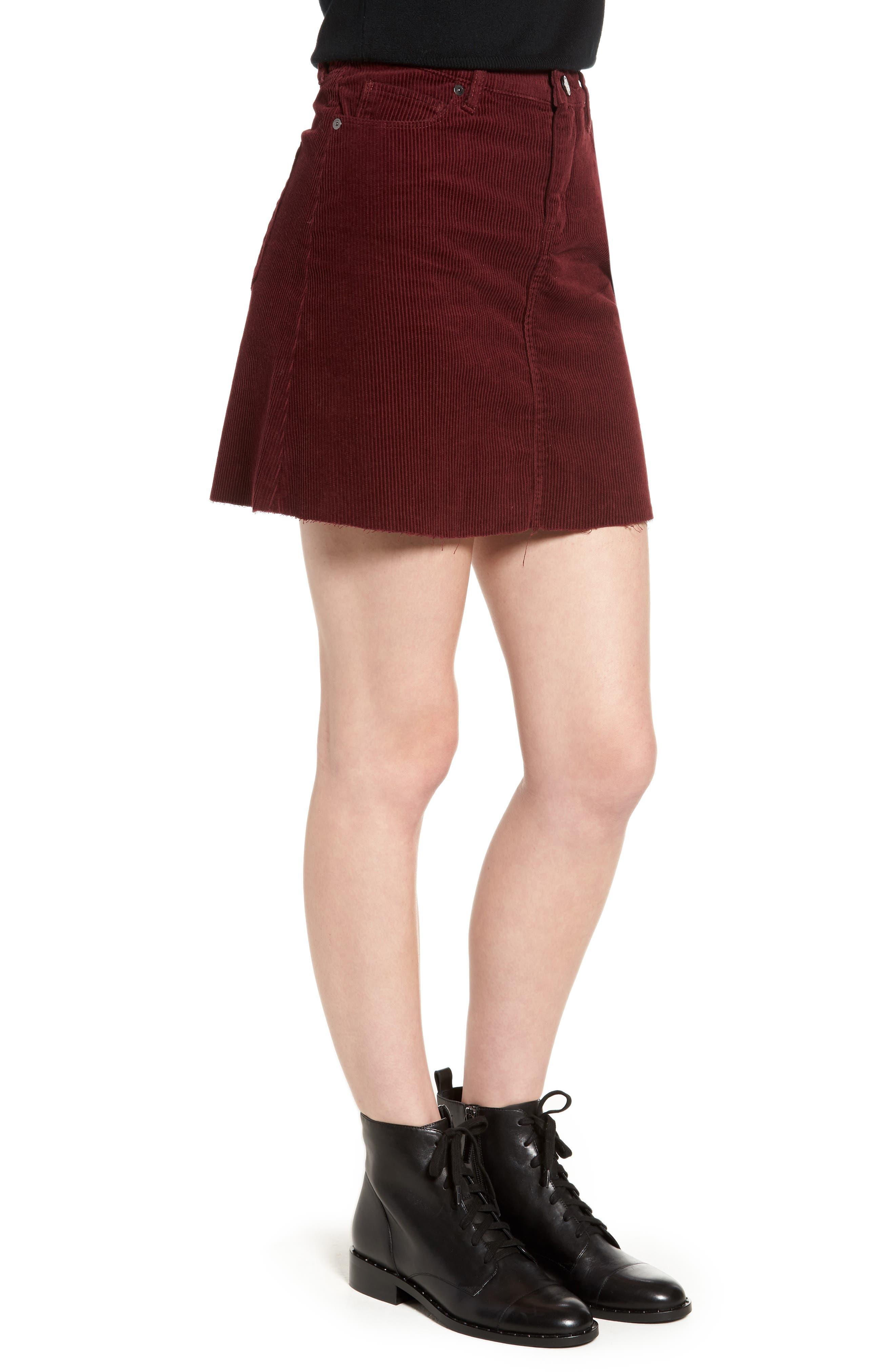 Corduroy A-Line Miniskirt,                             Alternate thumbnail 3, color,                             MERLOT
