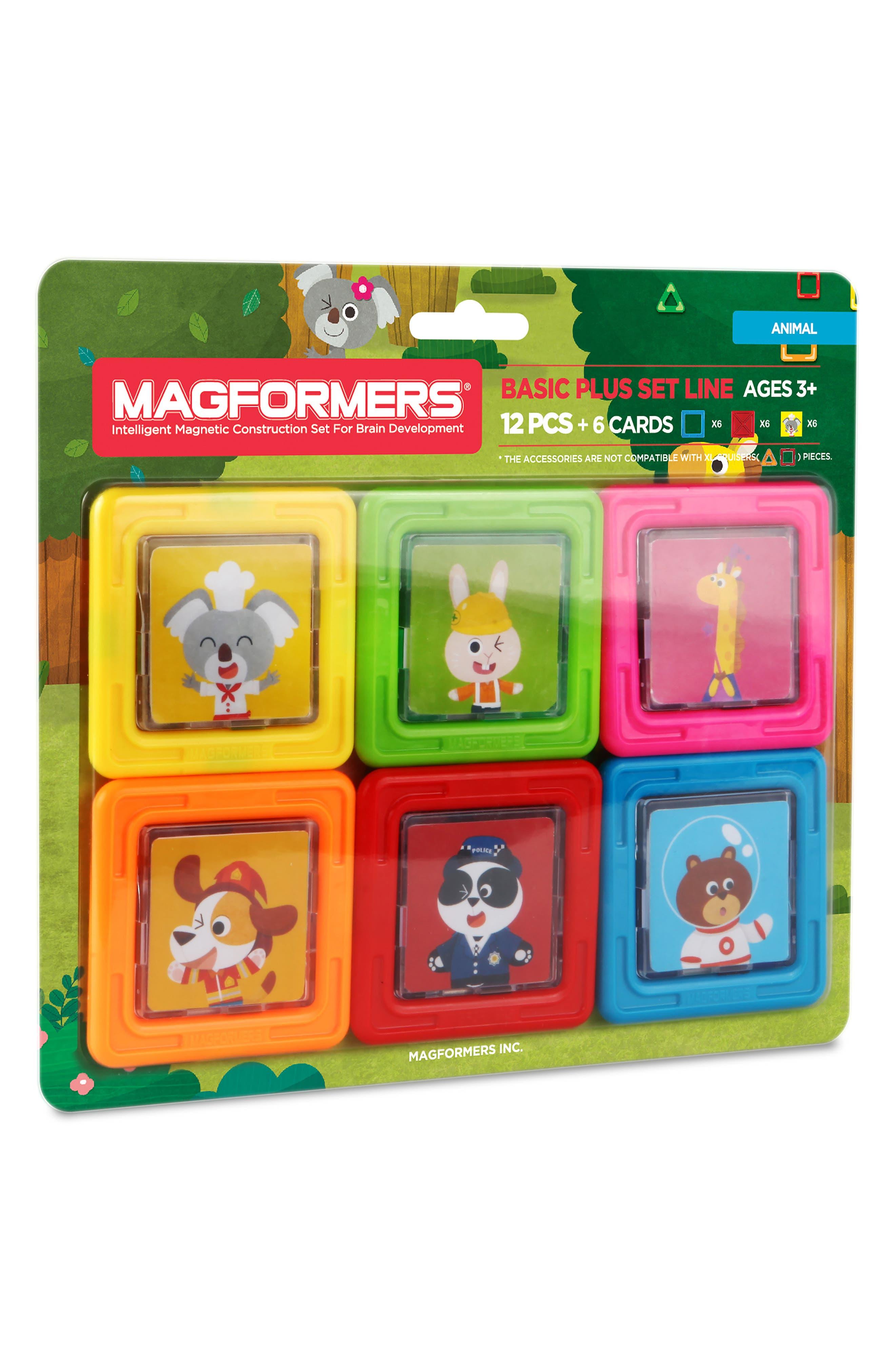 18-Piece Basic Plus Animals Magnetic 3D Construction Set,                             Main thumbnail 1, color,                             300