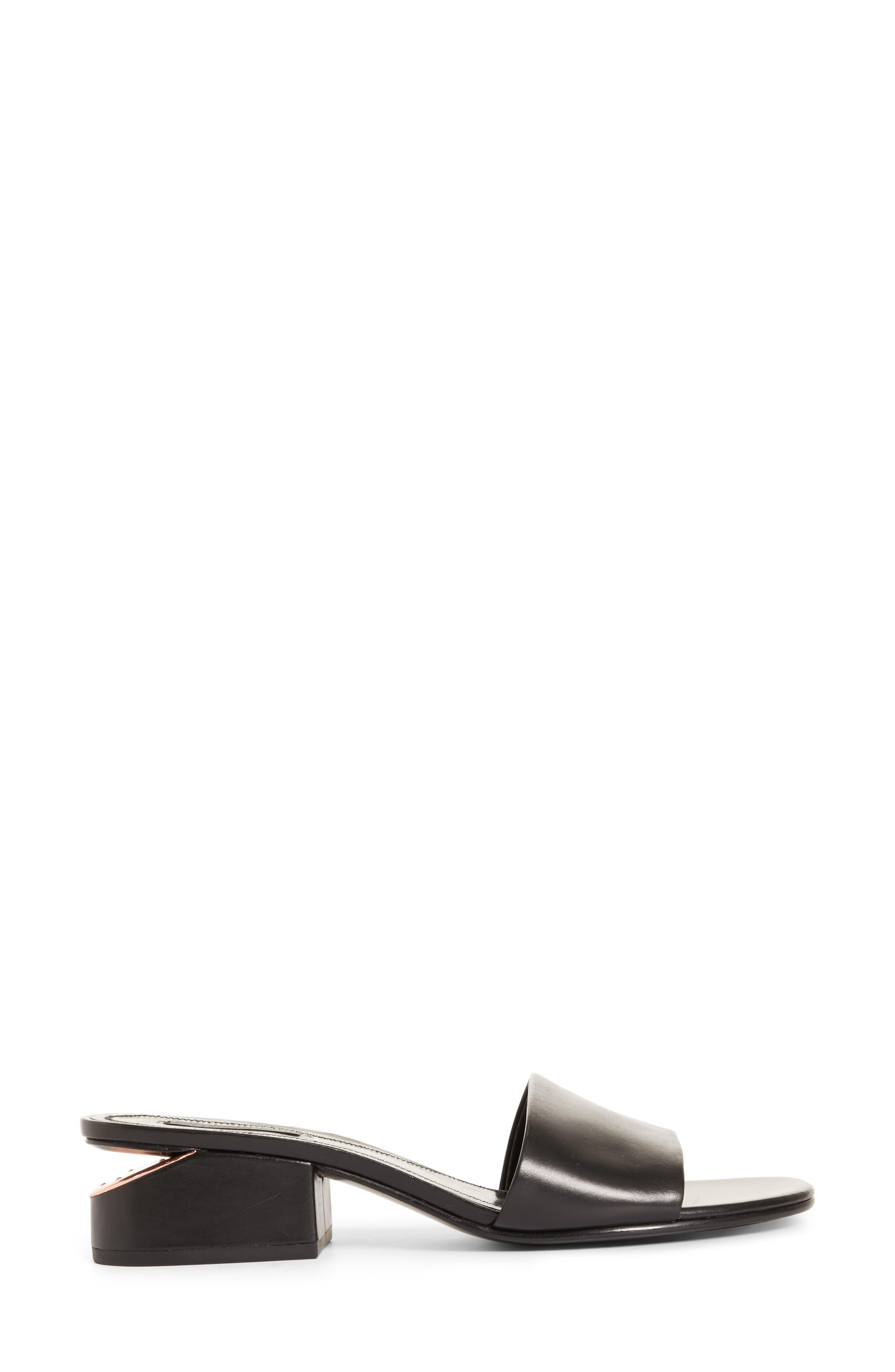 Lou Slide Sandal,                             Alternate thumbnail 3, color,                             BLACK/ ROSE GOLD