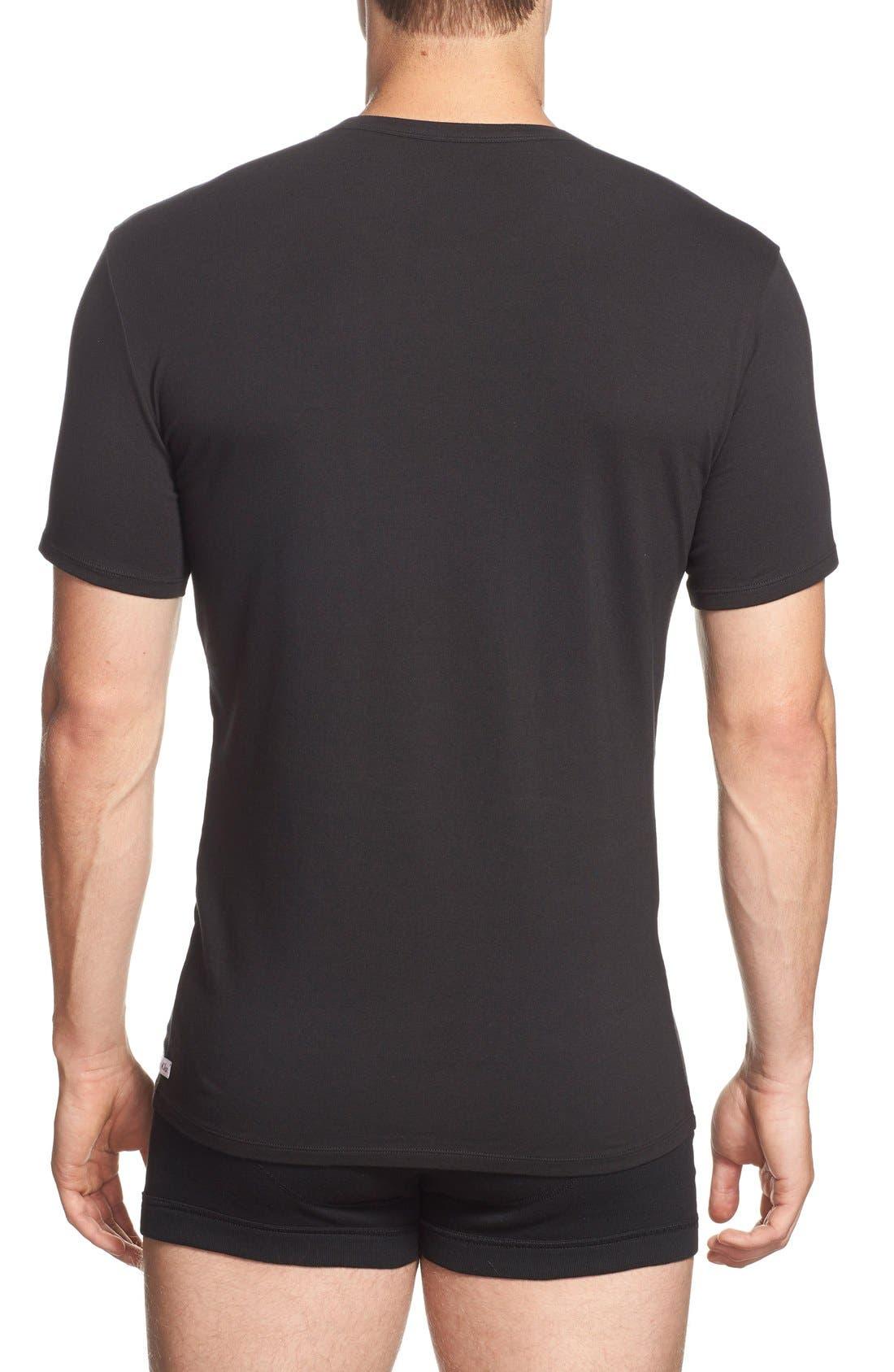 2-Pack Stretch Cotton Crewneck T-Shirt,                             Alternate thumbnail 2, color,                             BLACK