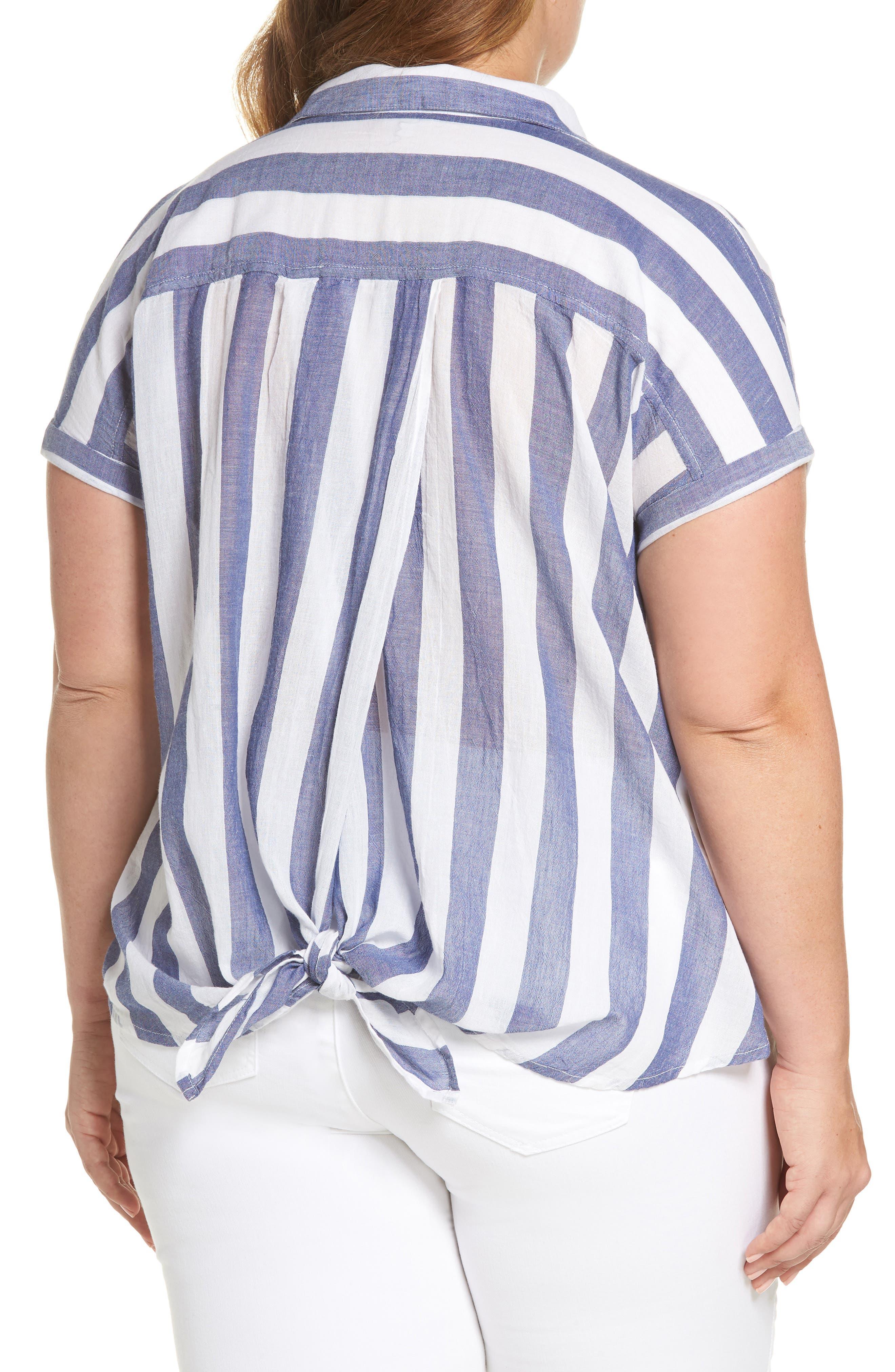 Stripe Back Tie Shirt,                             Alternate thumbnail 2, color,
