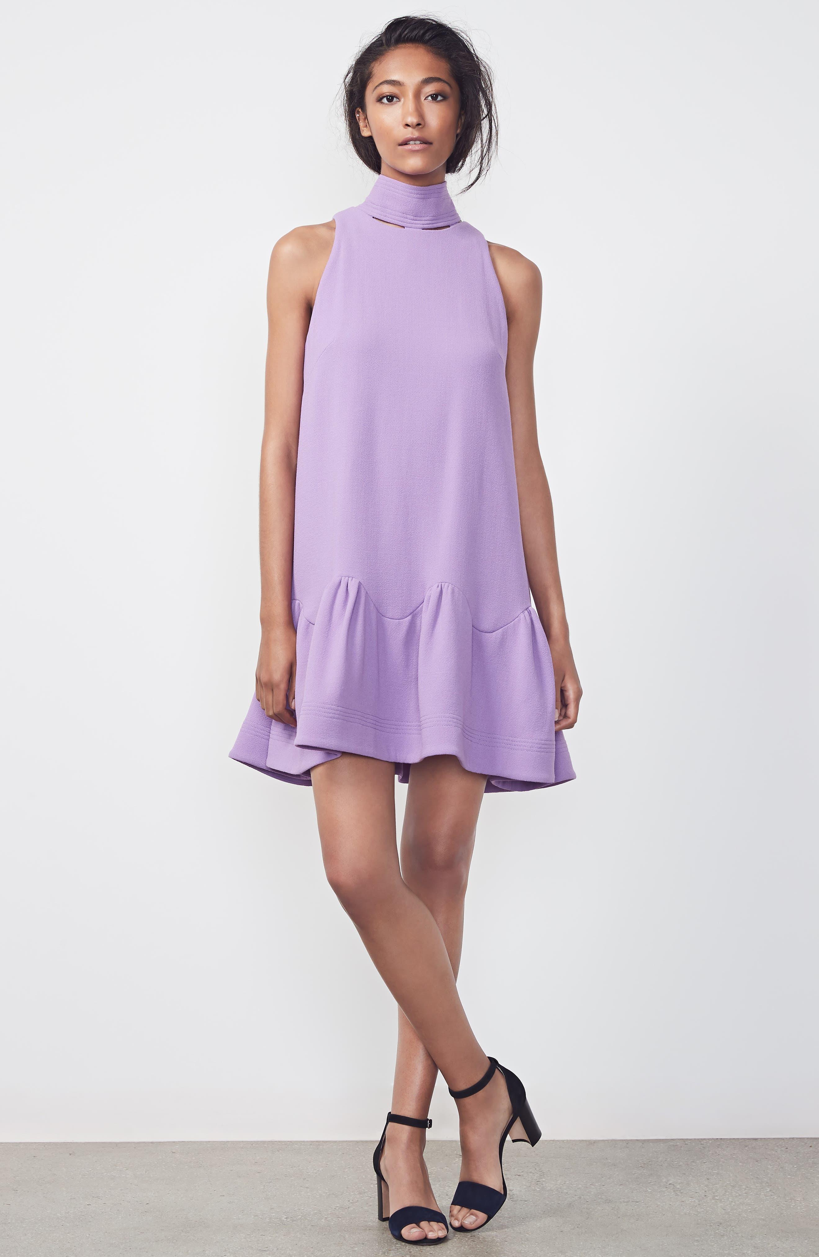 Scarf Neck Wool Blend Crepe Drop Waist Dress,                             Alternate thumbnail 10, color,                             LAVENDER