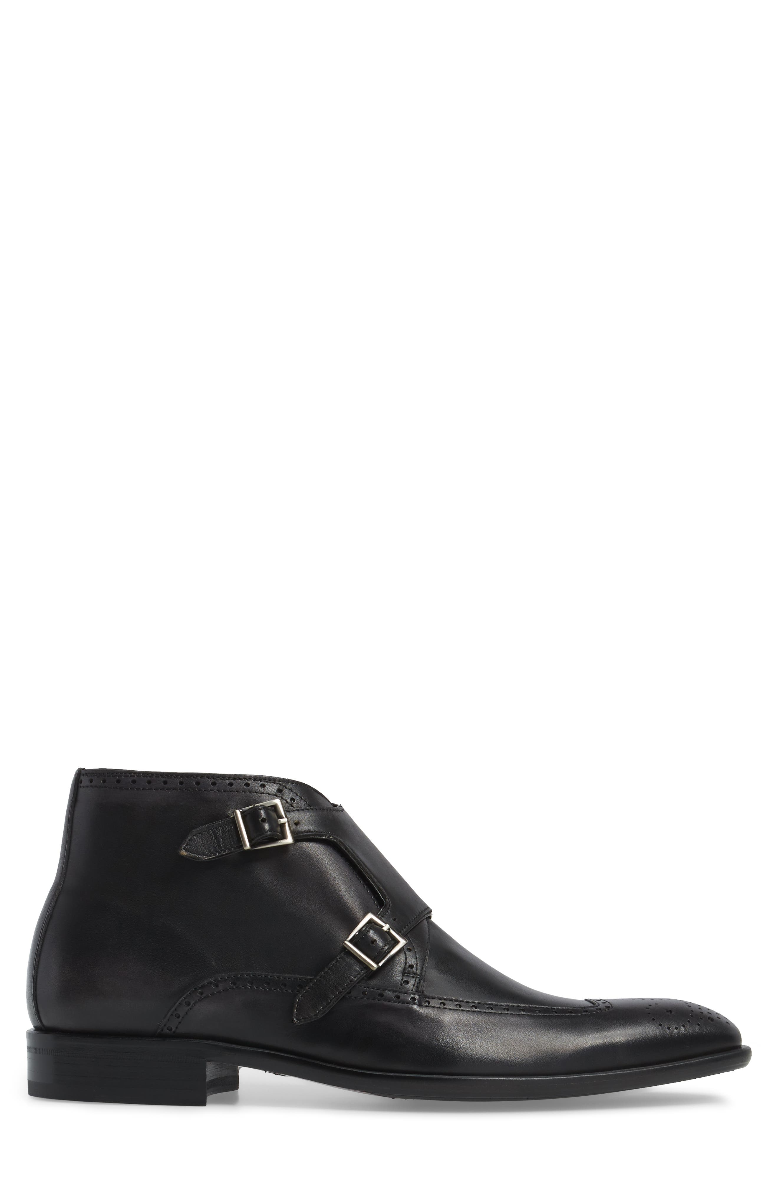 Taberna Double Monk Strap Boot,                             Alternate thumbnail 3, color,                             GRAPHITE LEATHER