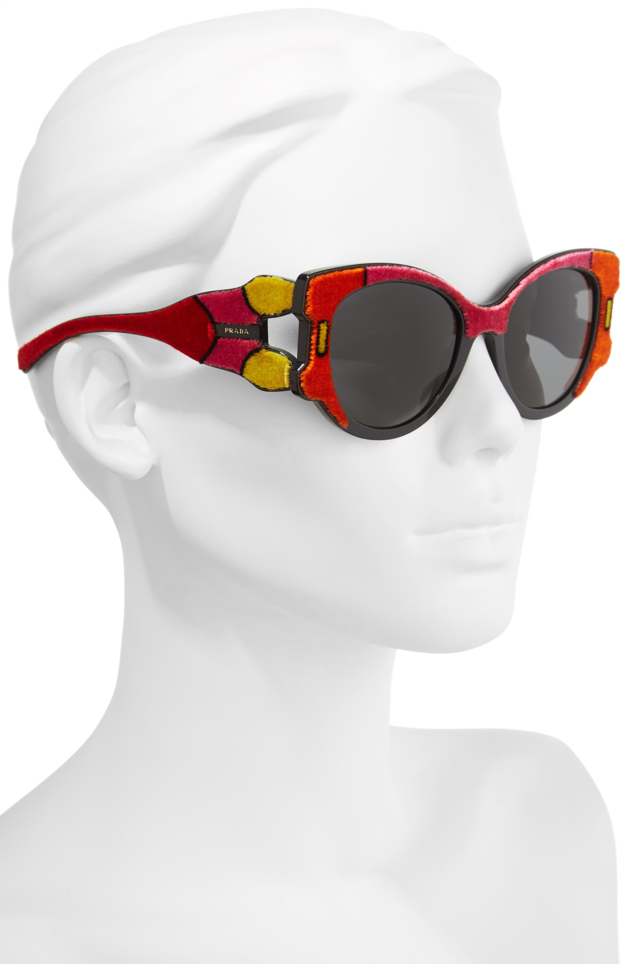 54mm Colorblock Round Sunglasses,                             Alternate thumbnail 3, color,                             010