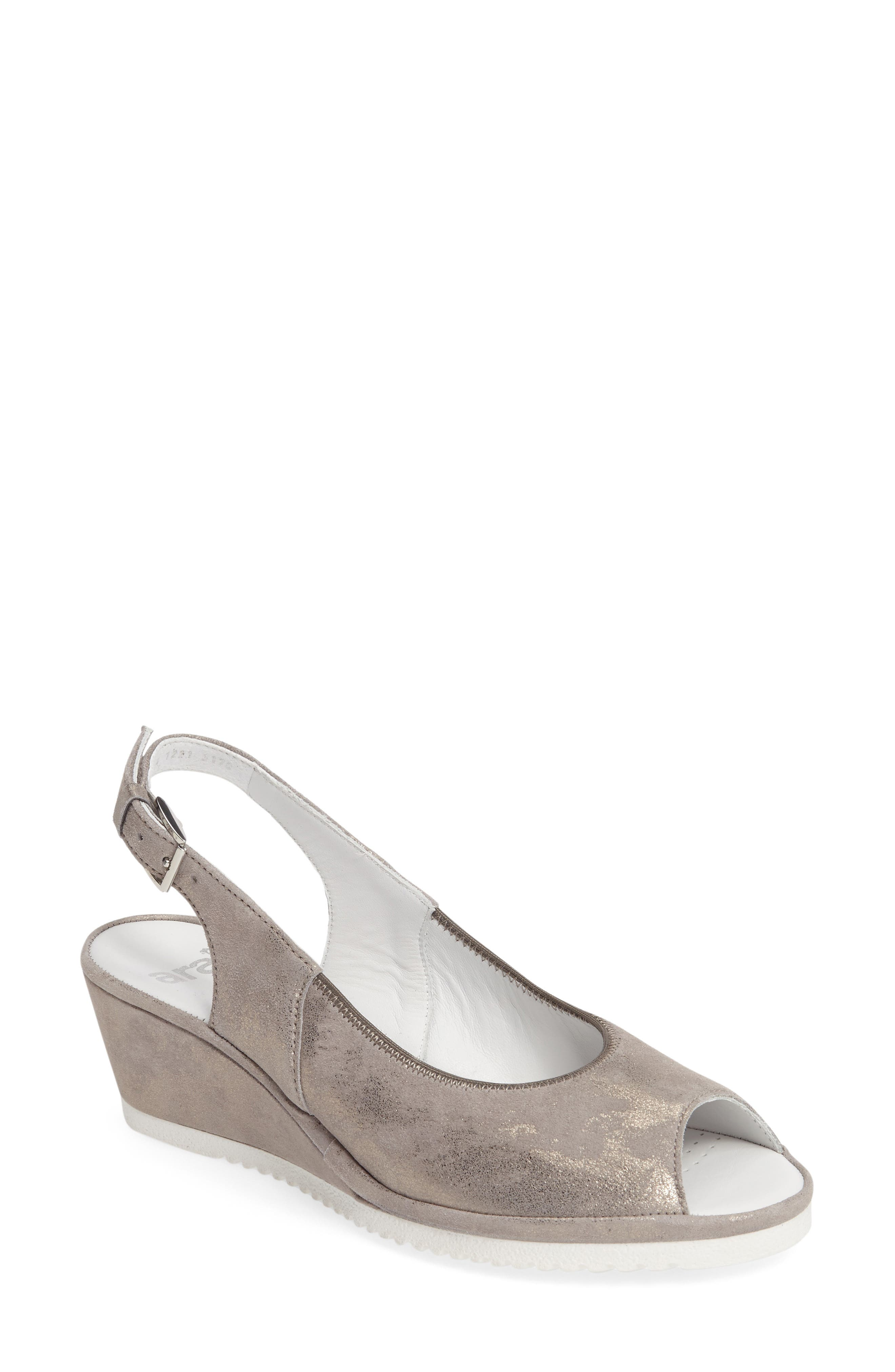 ARA Colleen Sandal, Main, color, GREY LEATHER