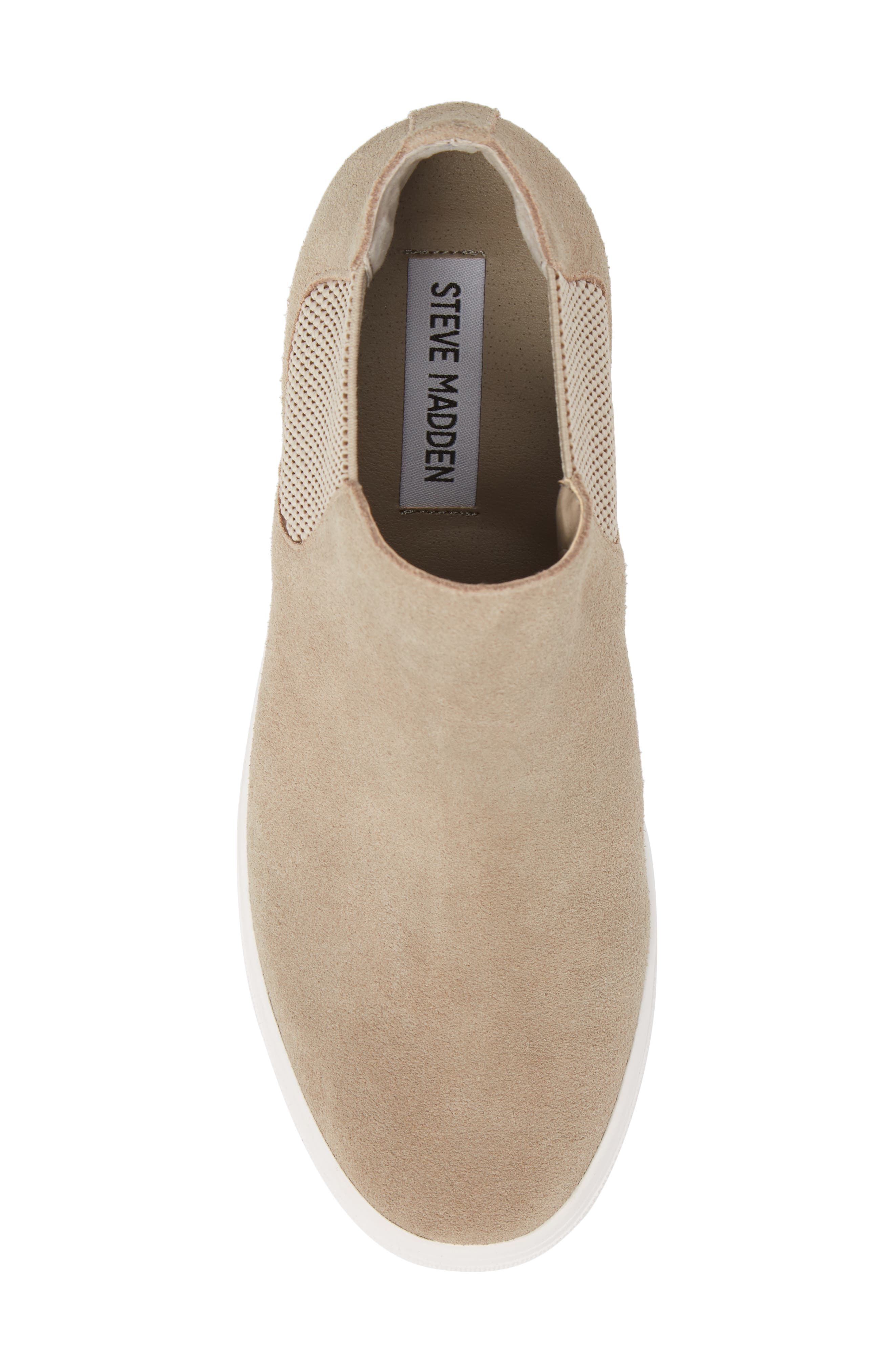 Sultan Chelsea Wedge Sneaker,                             Alternate thumbnail 5, color,                             TAUPE SUEDE