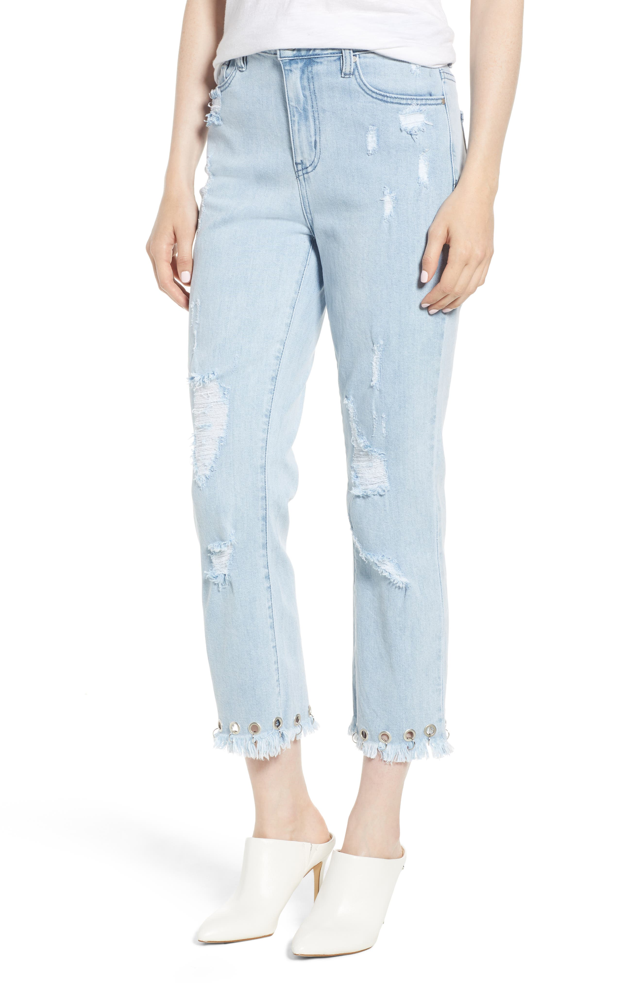 Grommet Hem Distressed Crop Jeans,                             Main thumbnail 1, color,