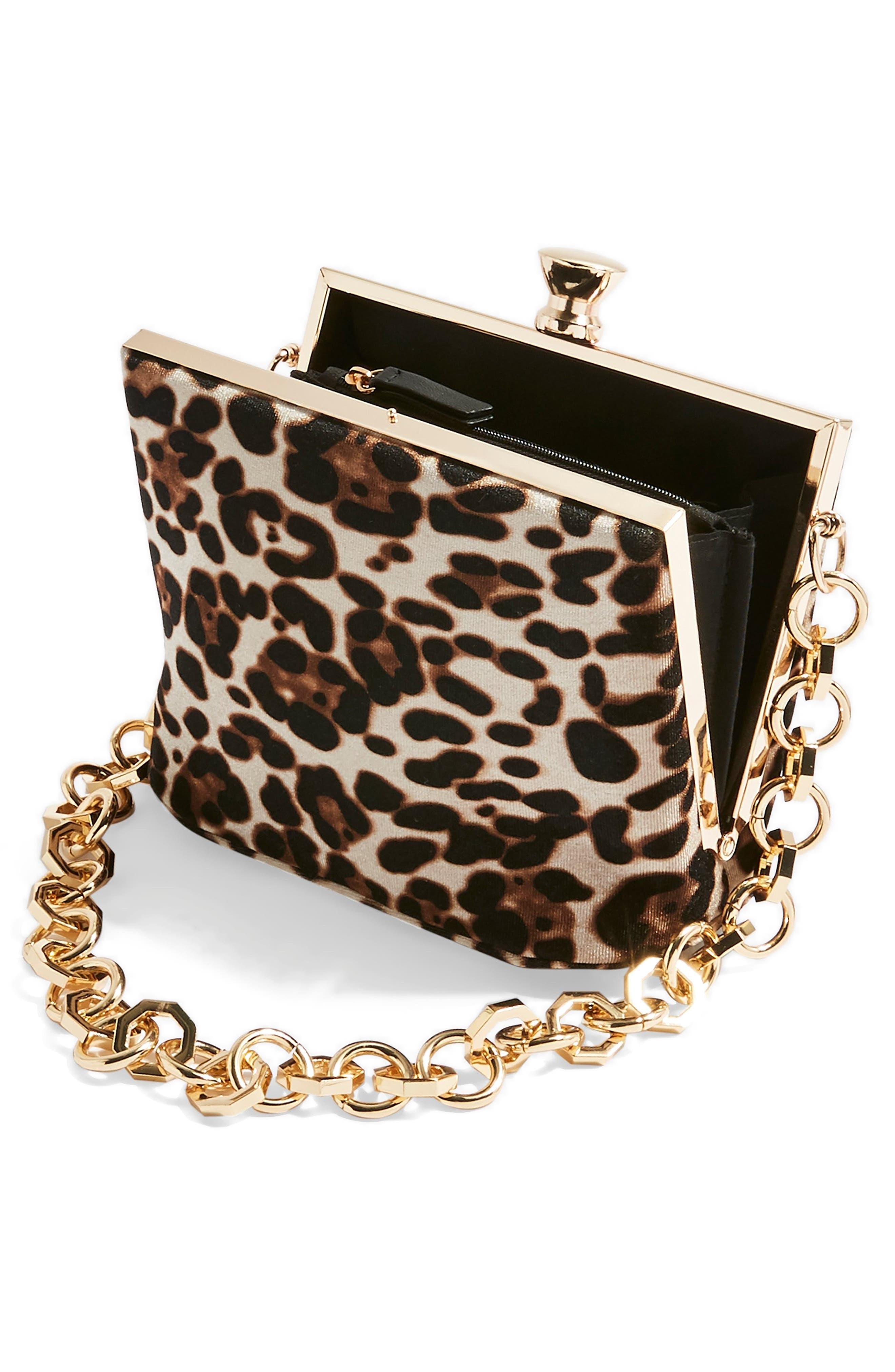TOPSHOP,                             Margot Shoulder Bag,                             Alternate thumbnail 4, color,                             LEOPARD