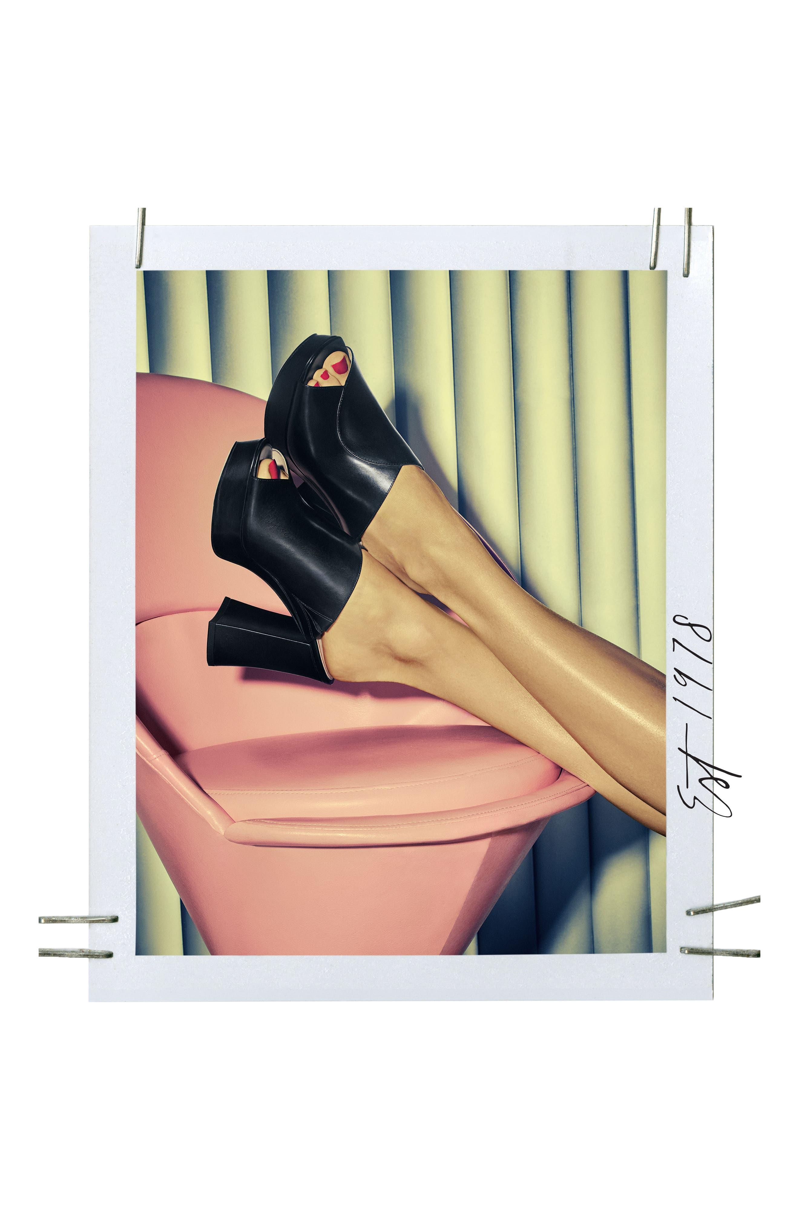 Lisana - 40th Anniversary Capsule Collection Platform Slide Sandal,                             Alternate thumbnail 7, color,                             BLACK LEATHER