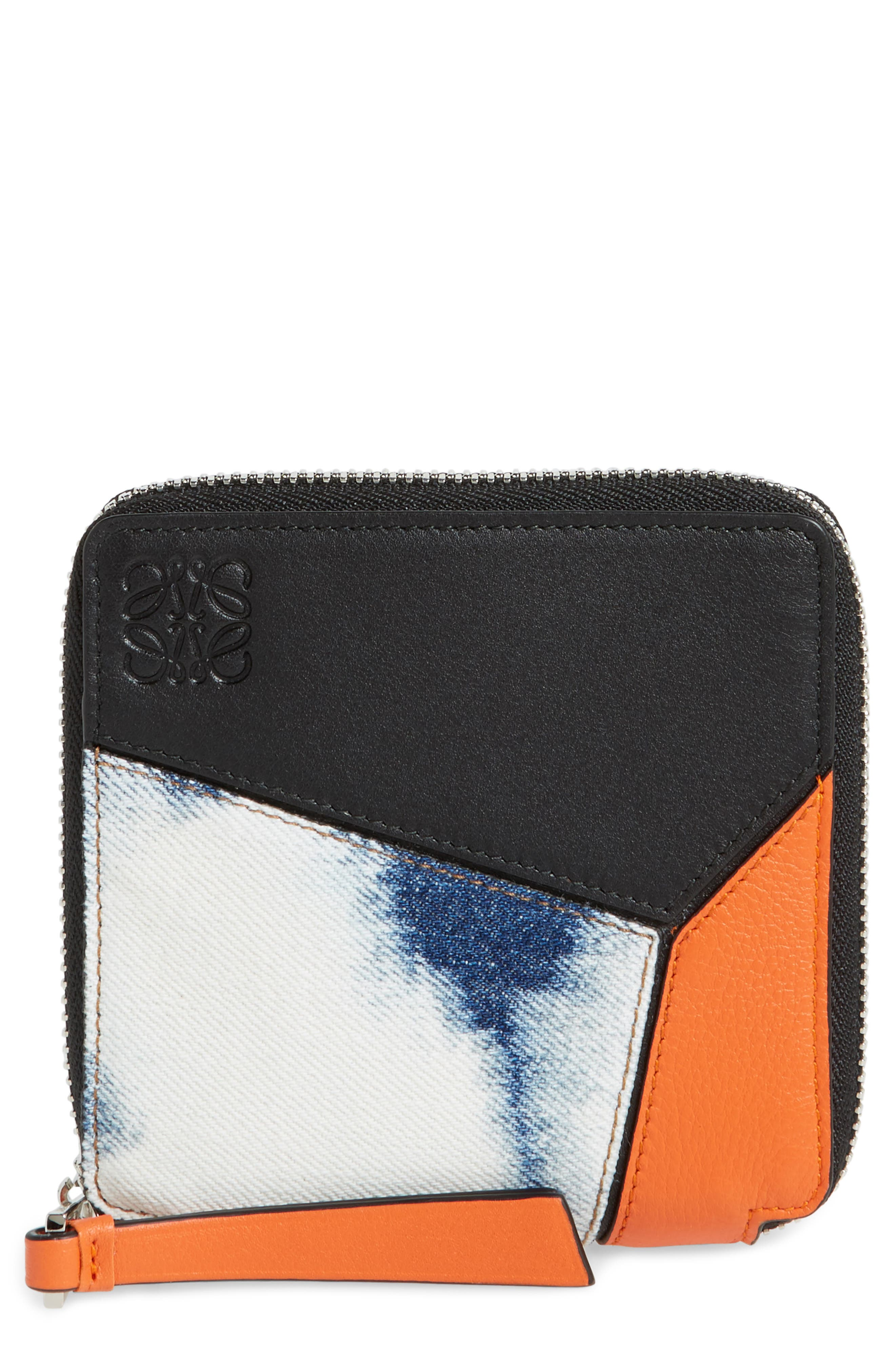 Small Puzzle Leather Zip Around French Wallet,                             Main thumbnail 1, color,                             001
