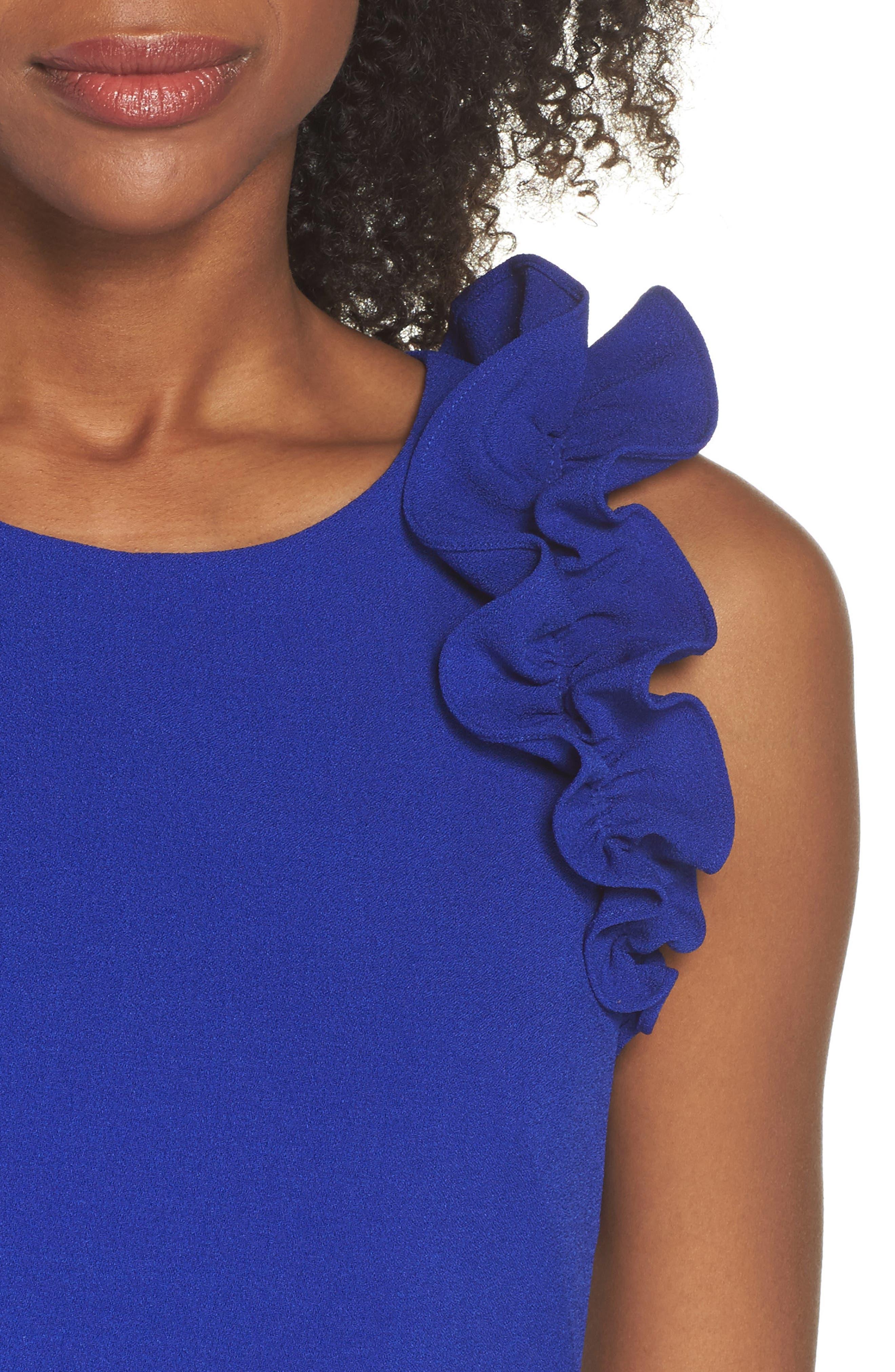 Ruffle Shoulder Crepe Shift Dress,                             Alternate thumbnail 8, color,