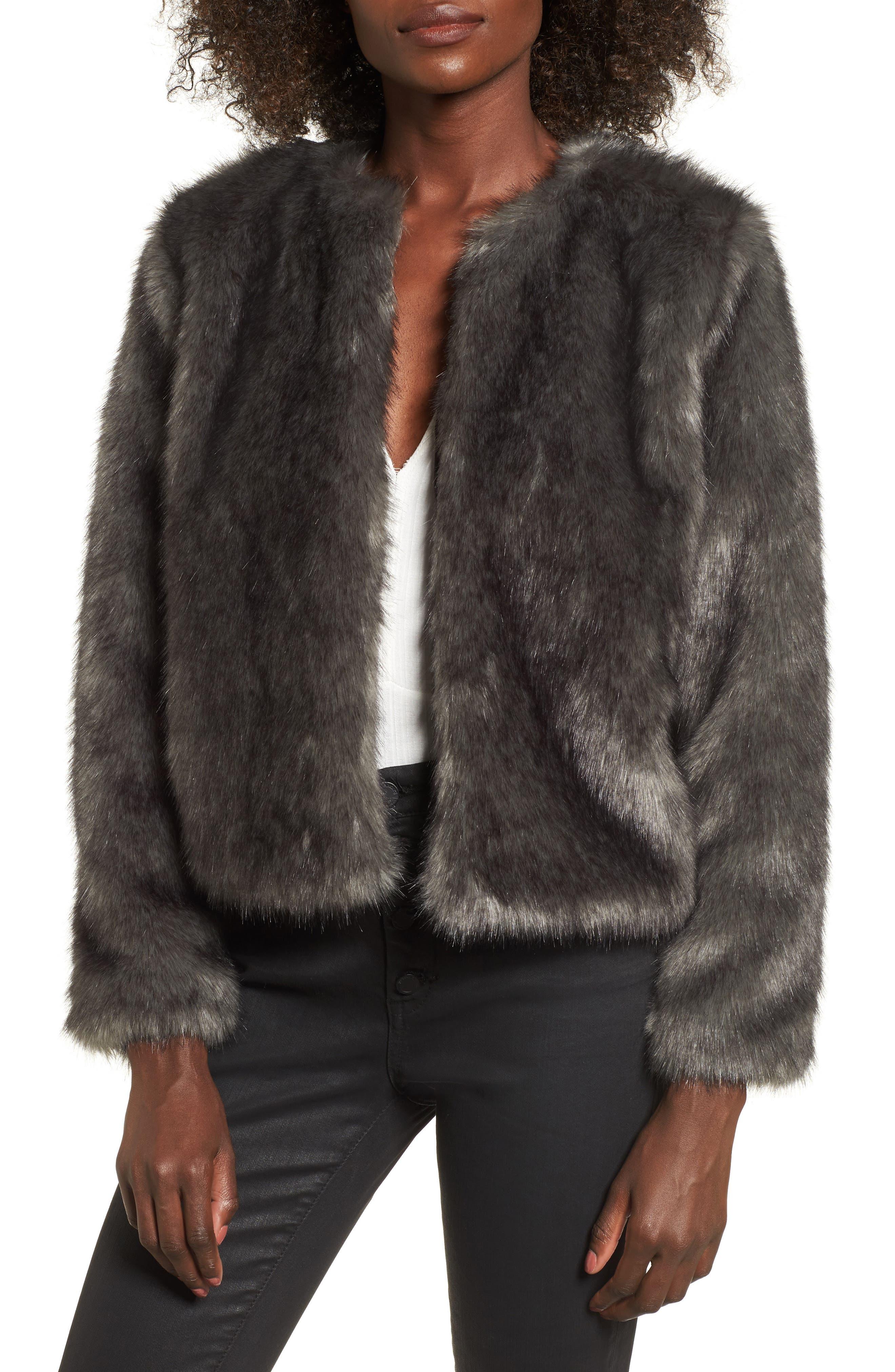 Faux Fur Jacket,                             Main thumbnail 1, color,                             020