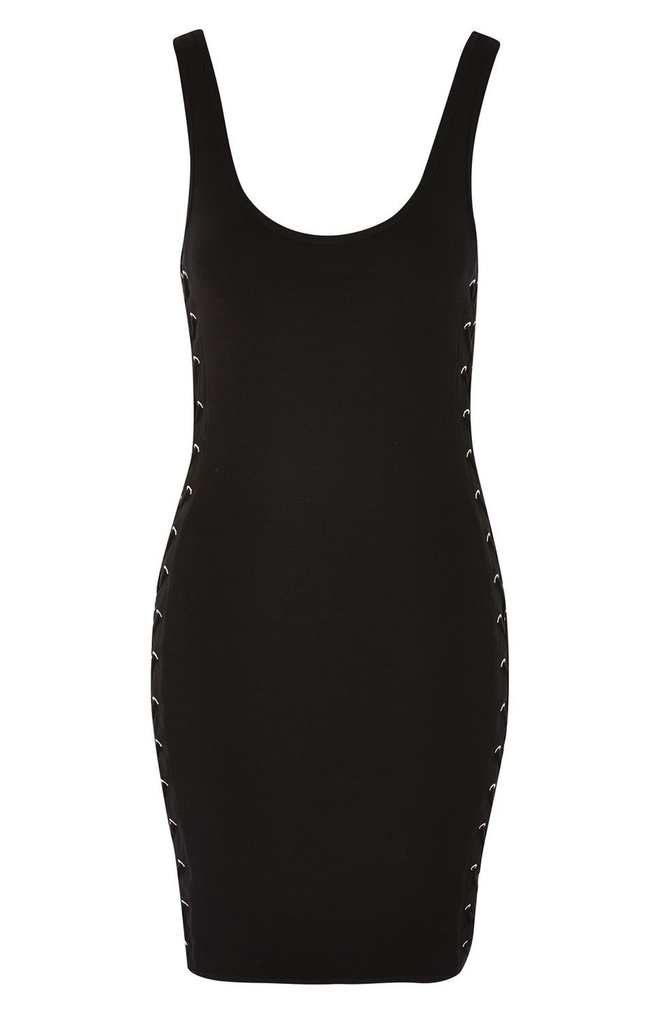 Lace-Up Side Body-Con Dress,                             Alternate thumbnail 4, color,                             001
