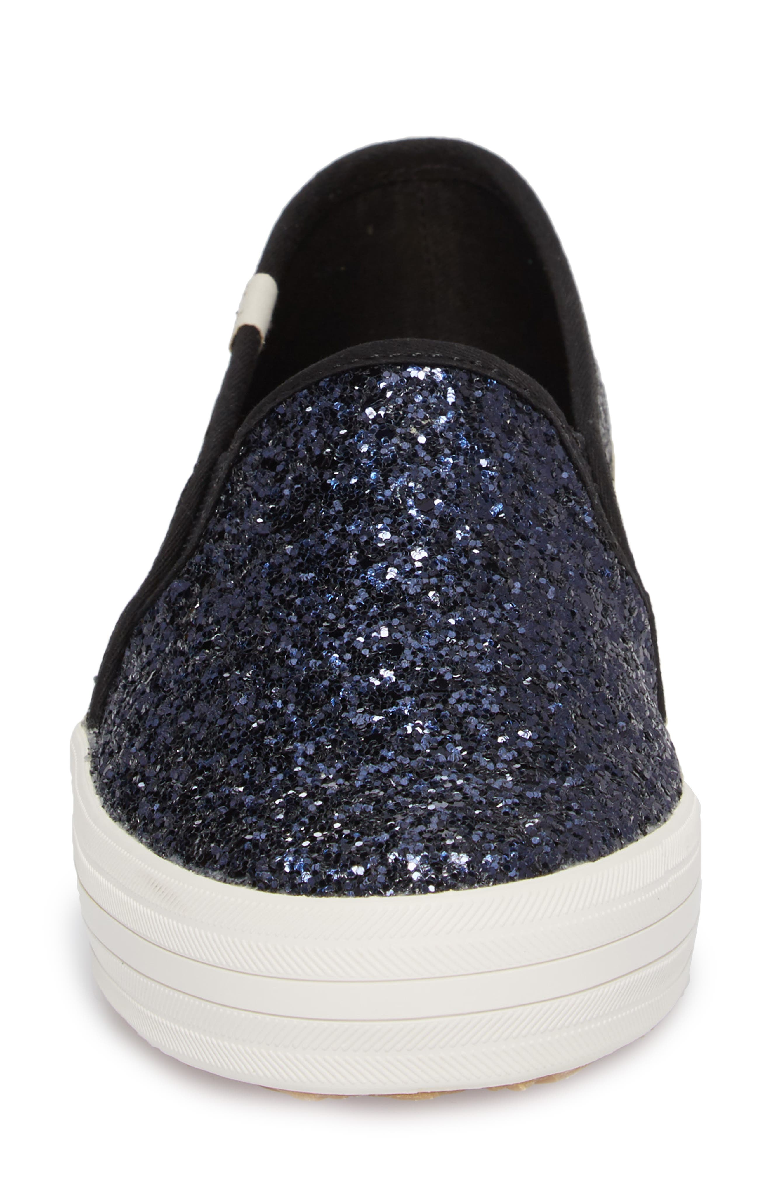 double decker glitter slip-on sneaker,                             Alternate thumbnail 4, color,                             410