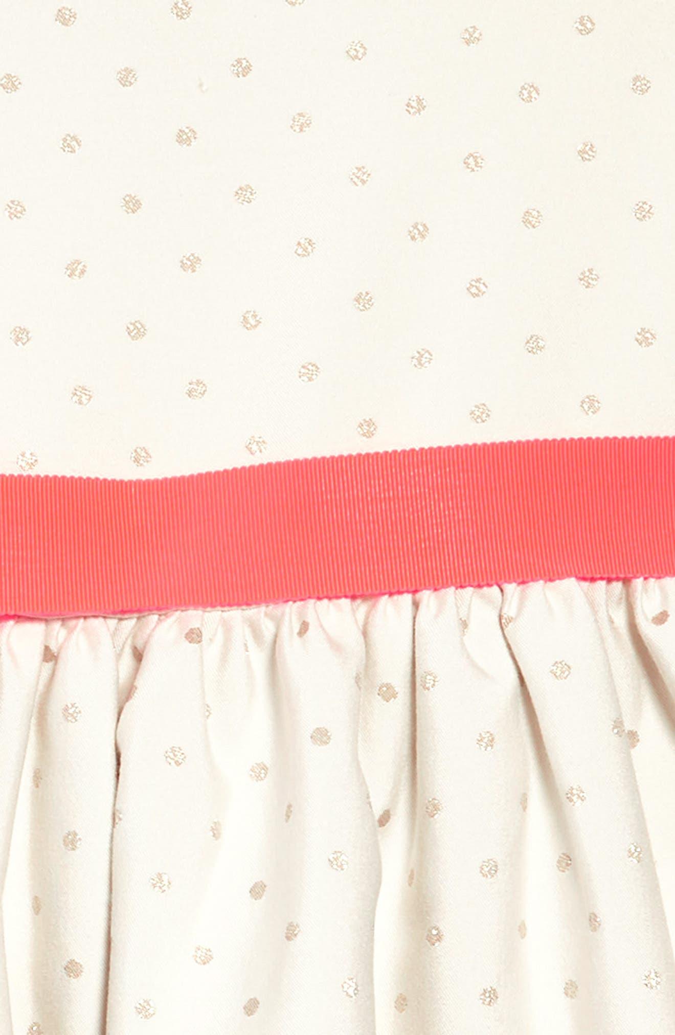MINI BODEN,                             Metallic Dot Fit & Flare Dress,                             Alternate thumbnail 3, color,                             909
