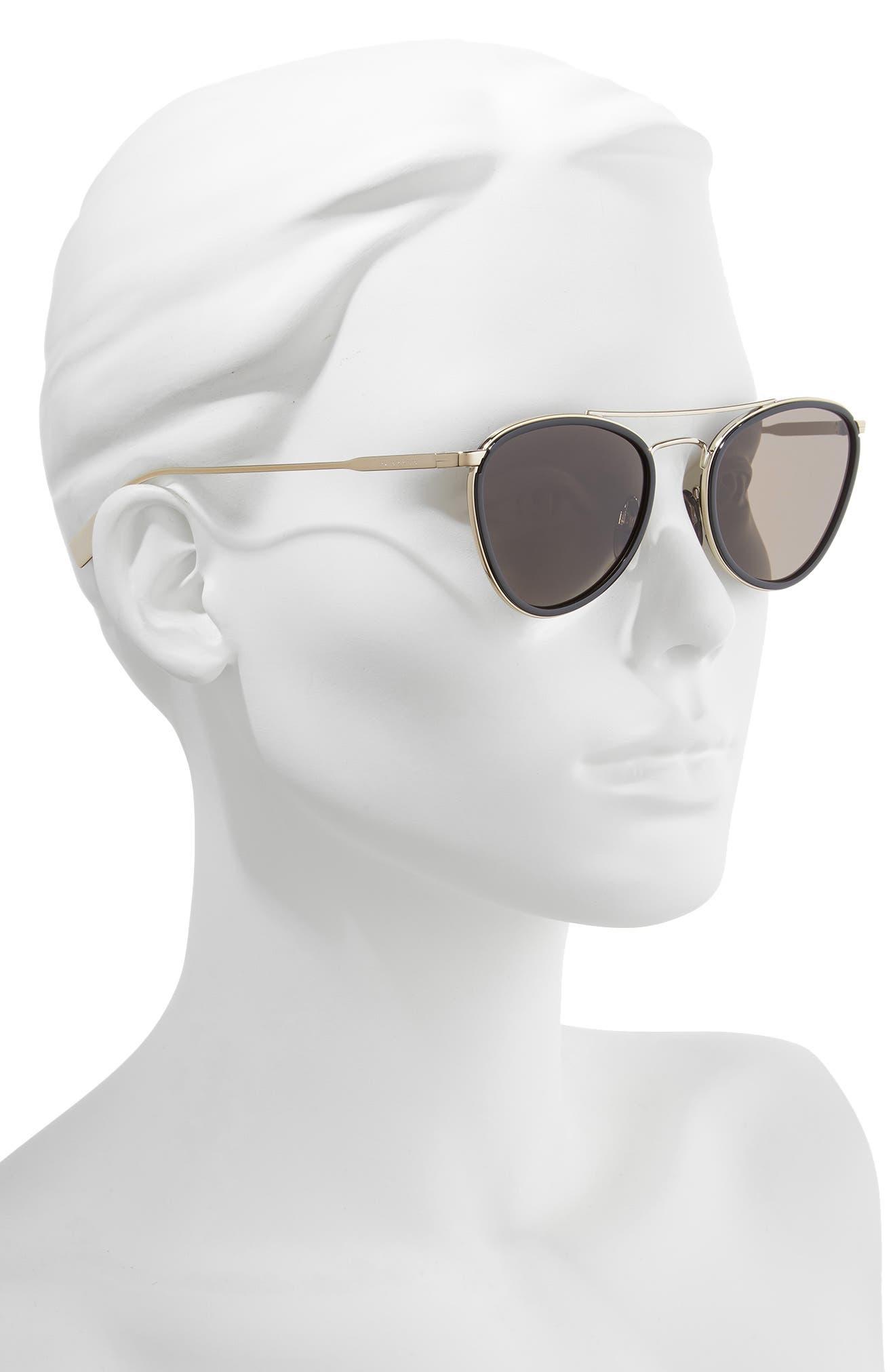 51mm Aviator Sunglasses,                             Alternate thumbnail 2, color,                             BLACK/ GOLD SOLID