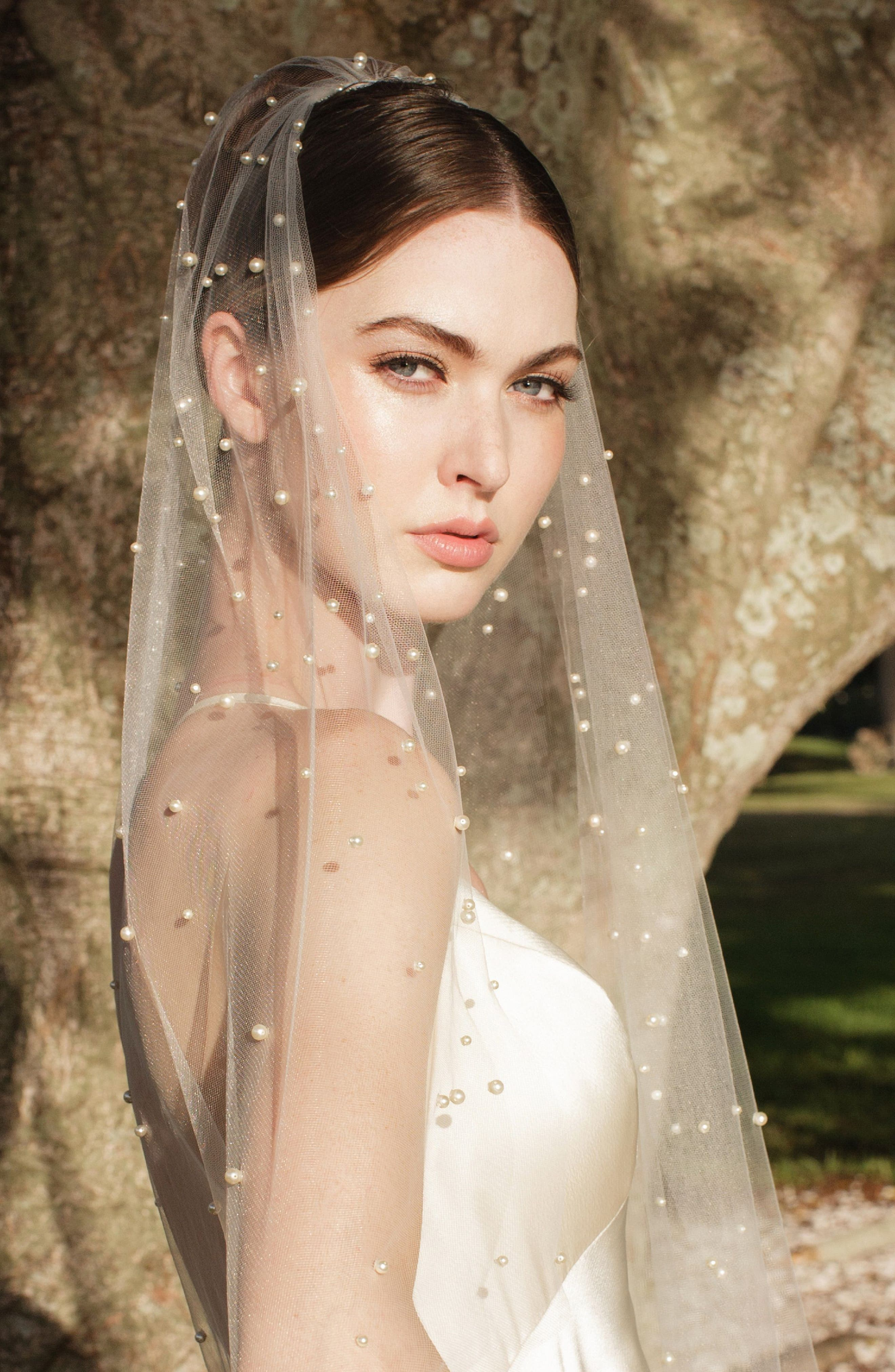 Abracadabra Swarovski Imitation Pearl Chapel Veil,                             Alternate thumbnail 2, color,                             LIGHT IVORY