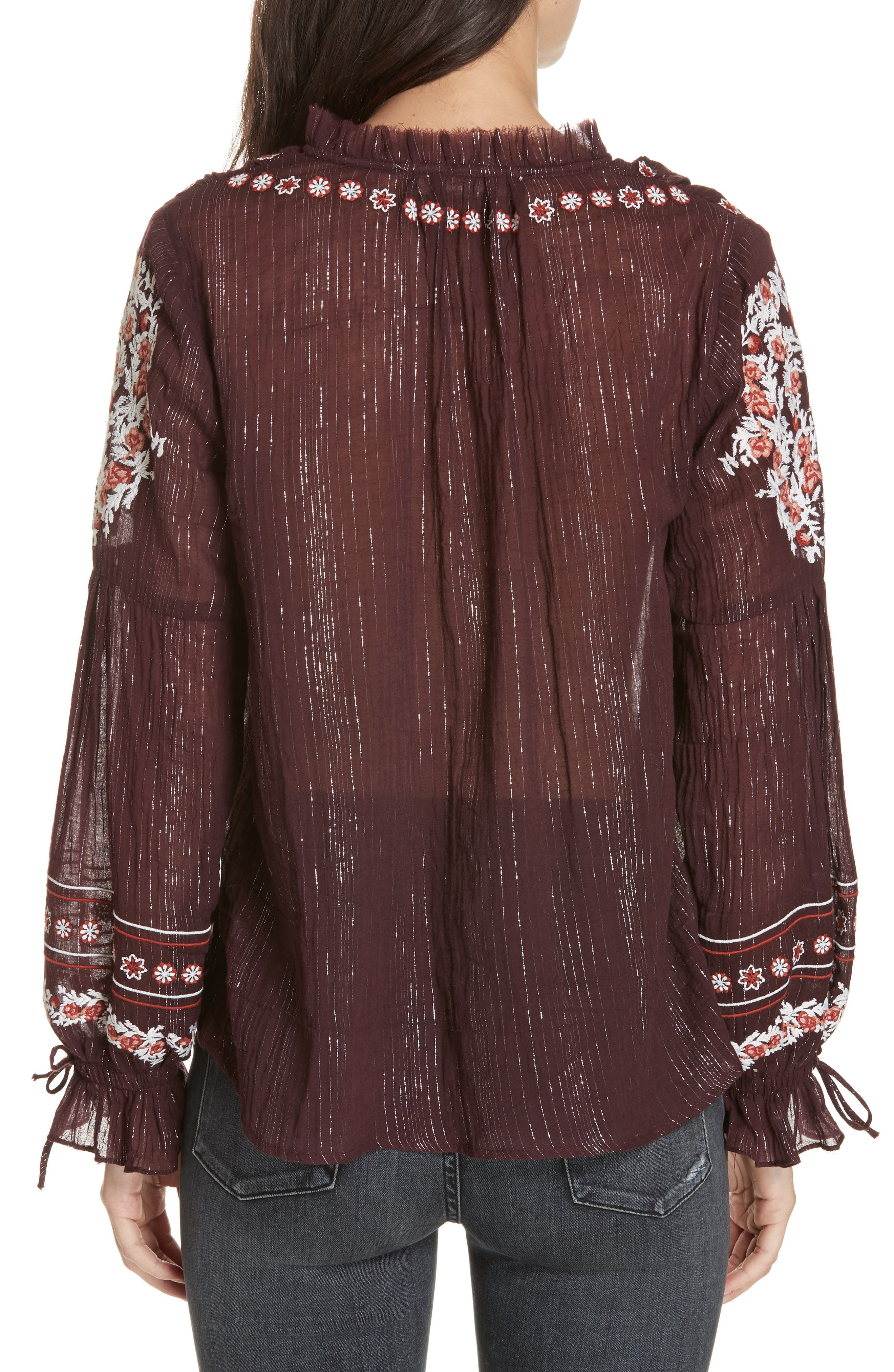 DOLAN,                             Lily Embroidered Peasant Top,                             Alternate thumbnail 2, color,                             MULBERRY