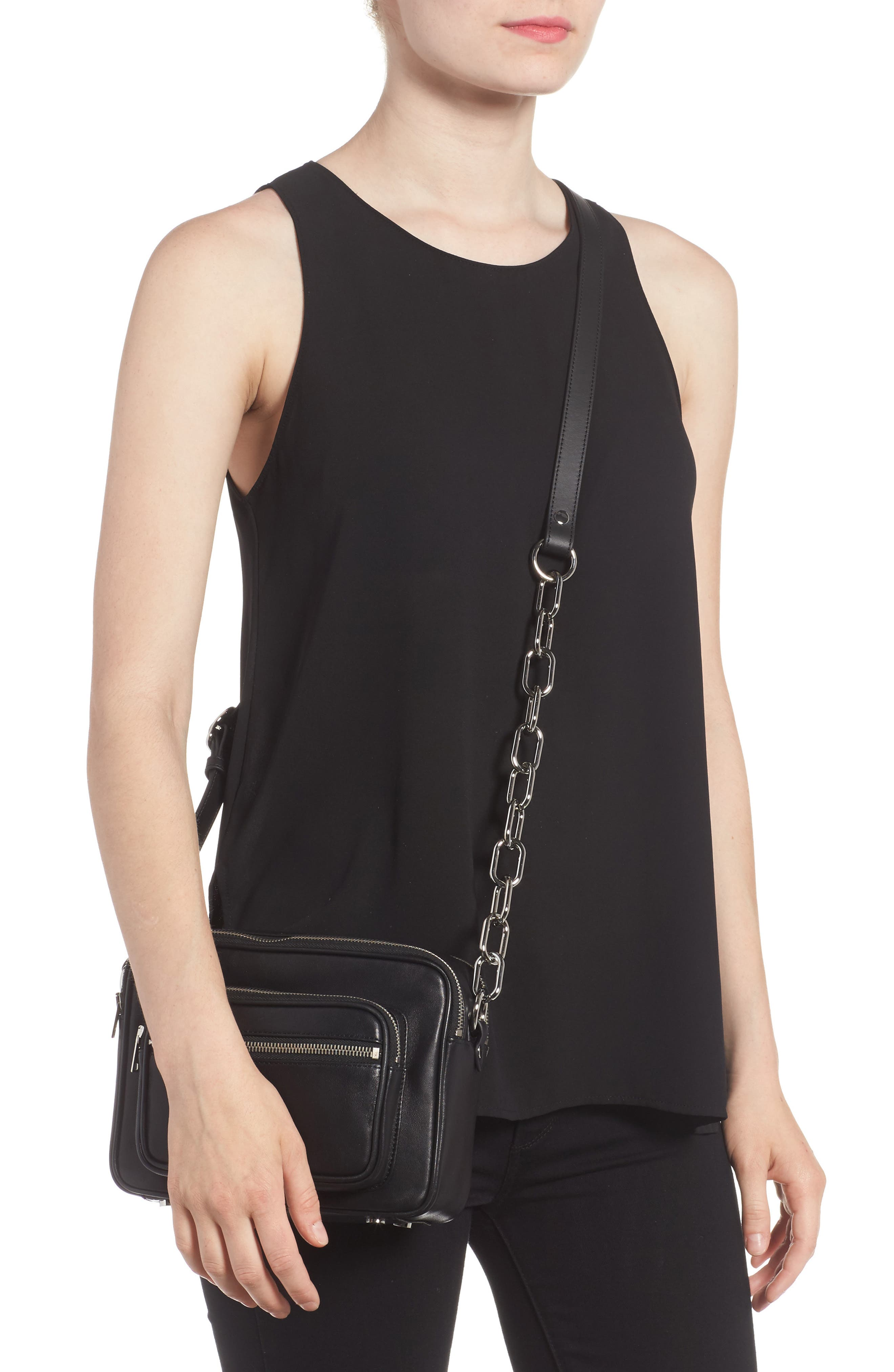 Washed Leather Crossbody Bag,                             Alternate thumbnail 2, color,                             BLACK