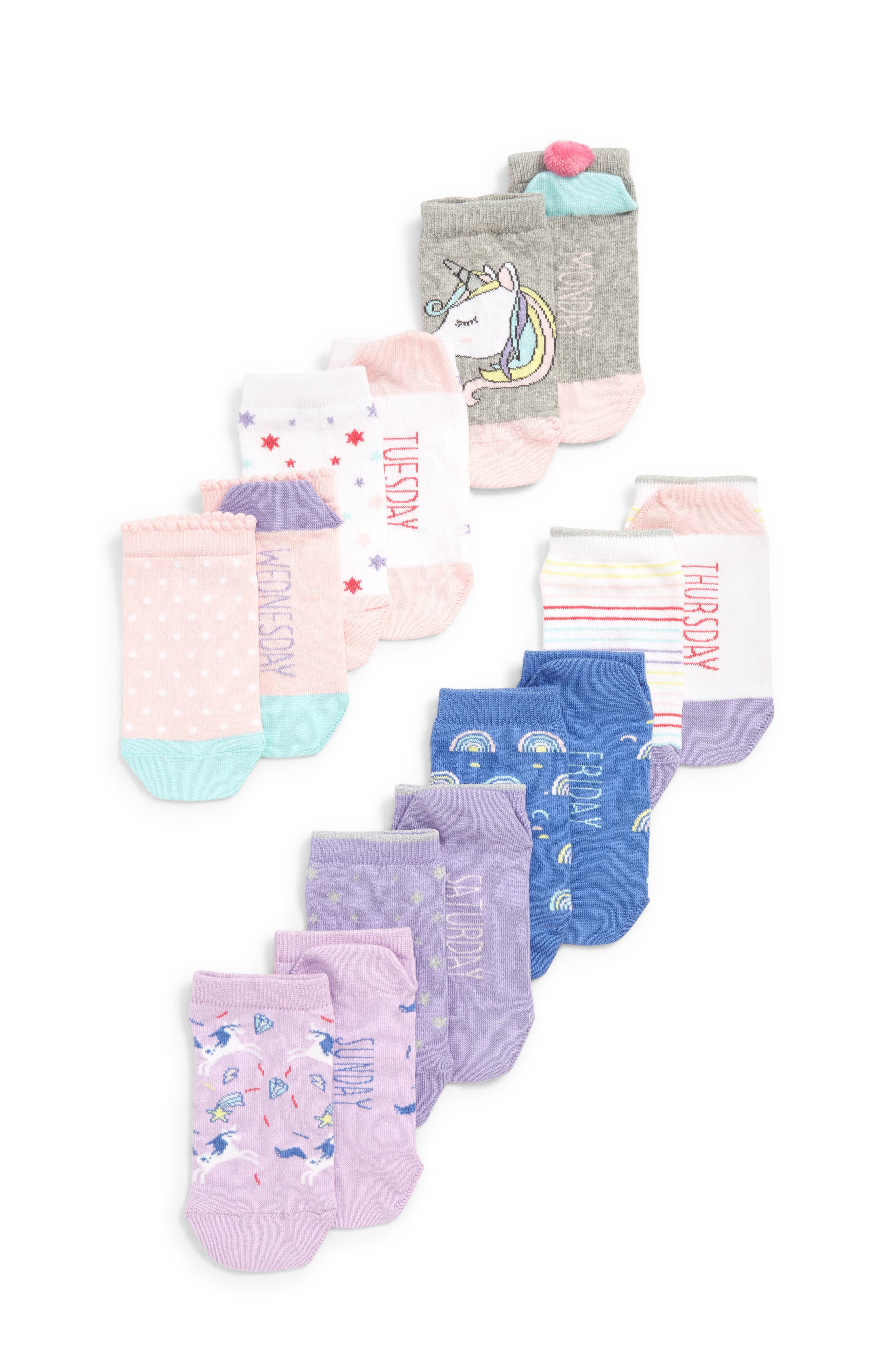Toddler Girls Tucker  Tate 7Pack Days Of The Week Socks Size 4585 EU  Pink