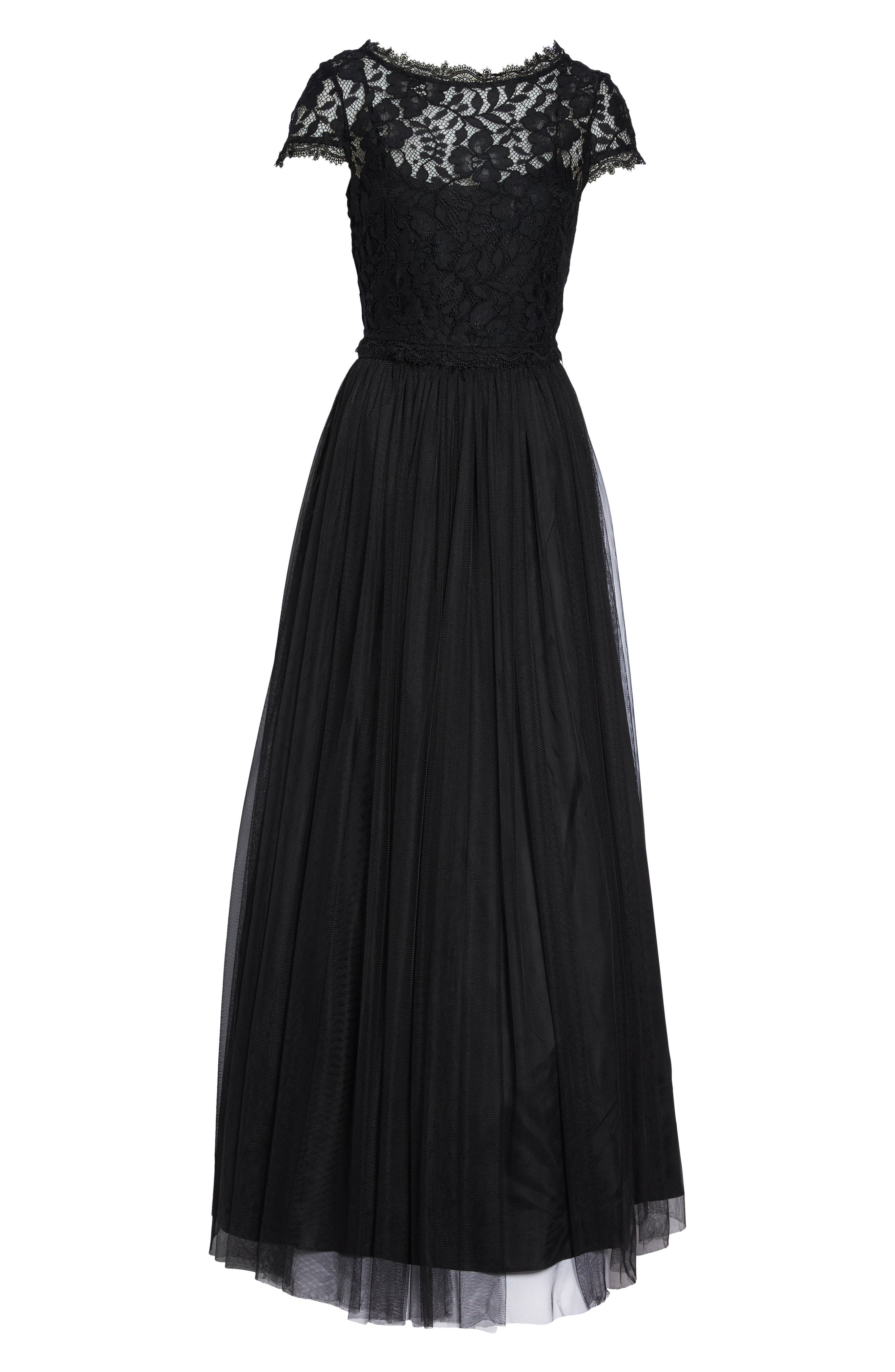 Lace and Tulle Two-Piece Dress,                             Alternate thumbnail 6, color,                             002