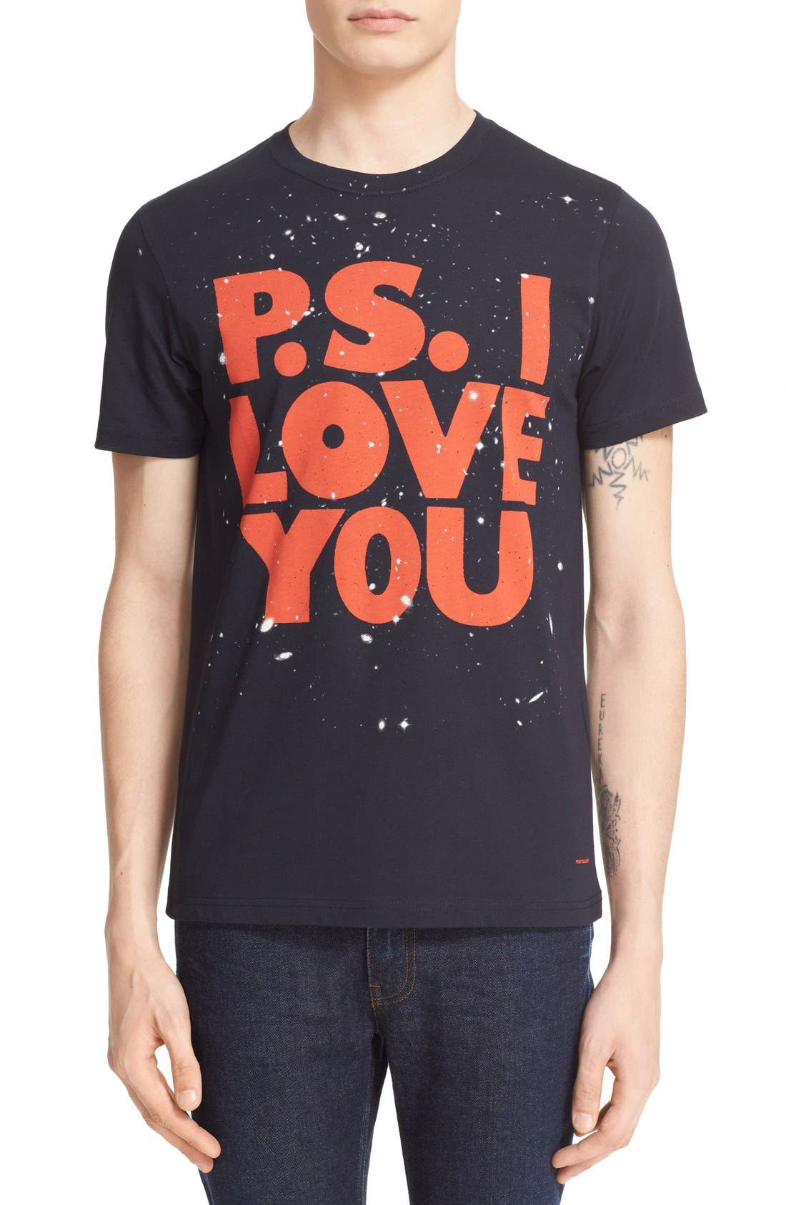 Paul Smith 'P.S. I Love You' Graphic Cotton T-Shirt, Main, color, 414