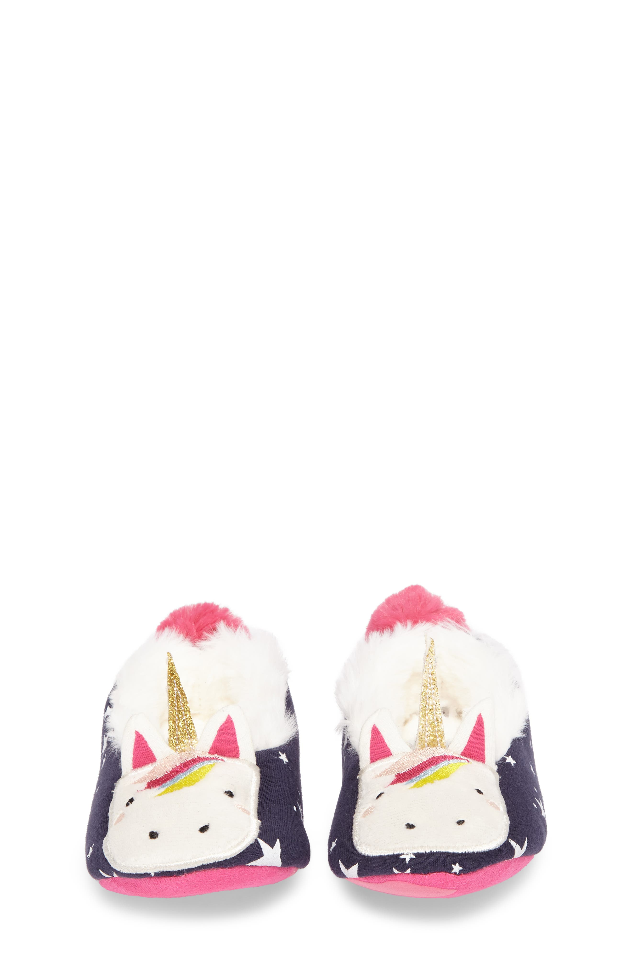 Faux Fur Character Slipper,                             Alternate thumbnail 4, color,                             FRENCH NAVY UNICORN