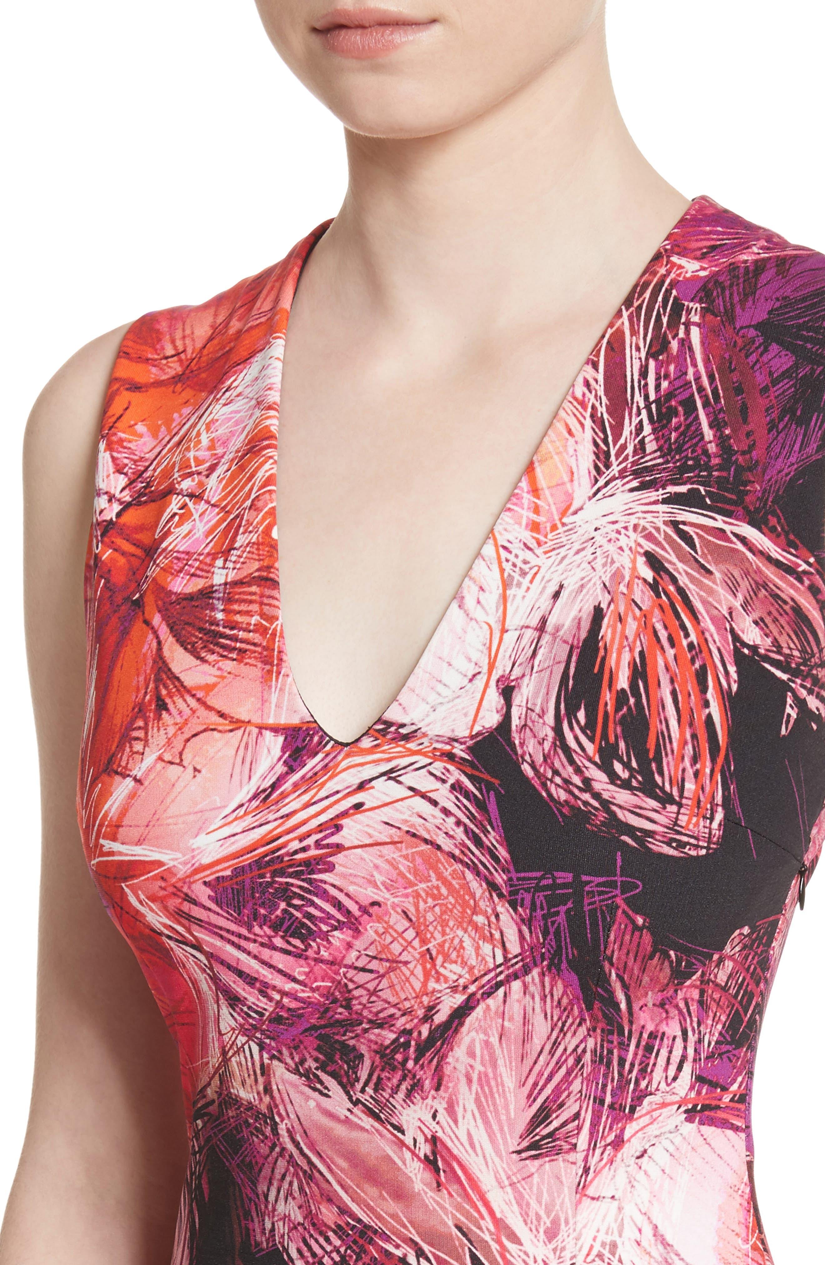 Print Sheath Dress,                             Alternate thumbnail 4, color,                             650