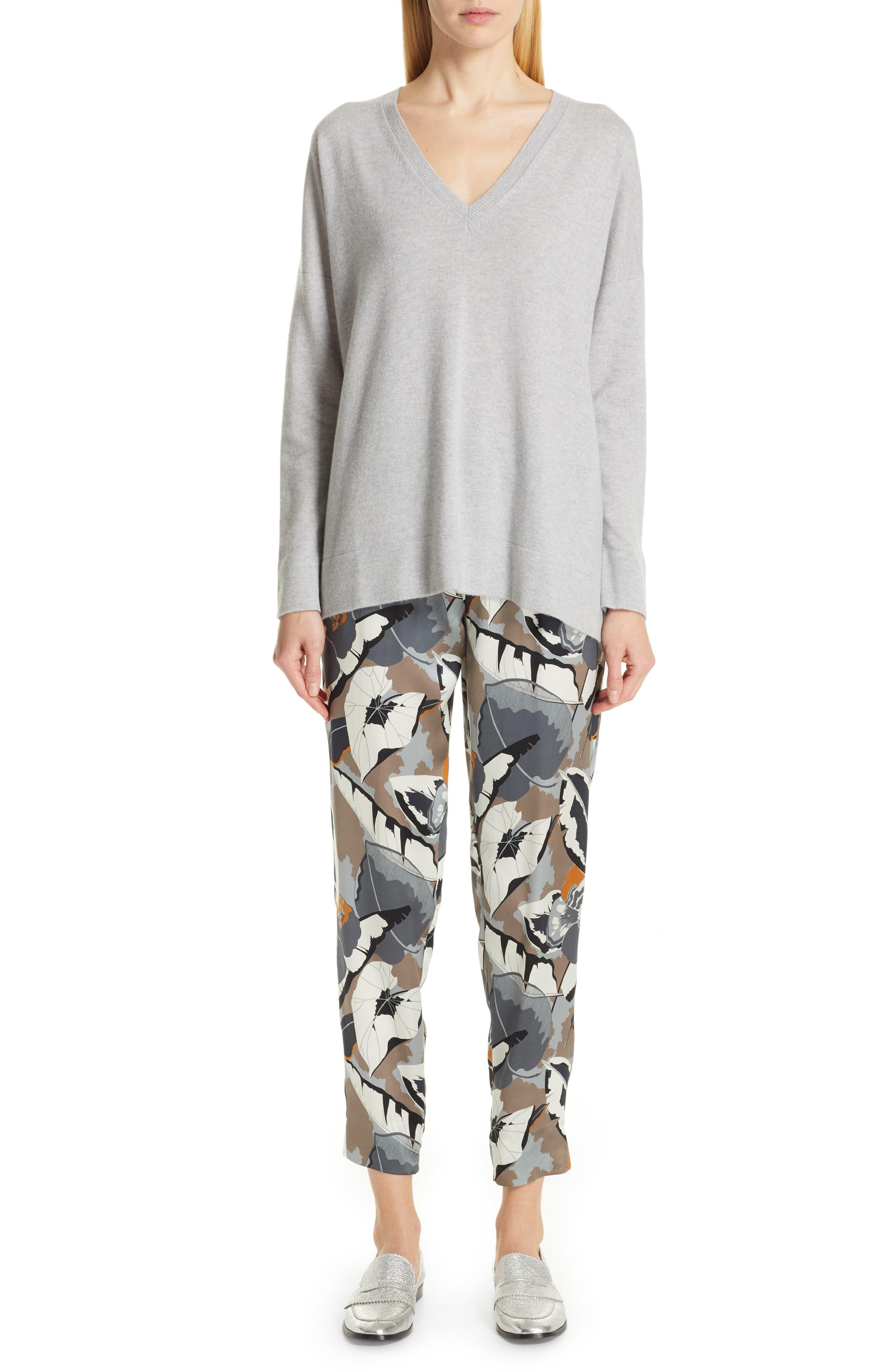 FABIANA FILIPPI,                             Tulle Inset Cashmere Sweater,                             Alternate thumbnail 8, color,                             GREY