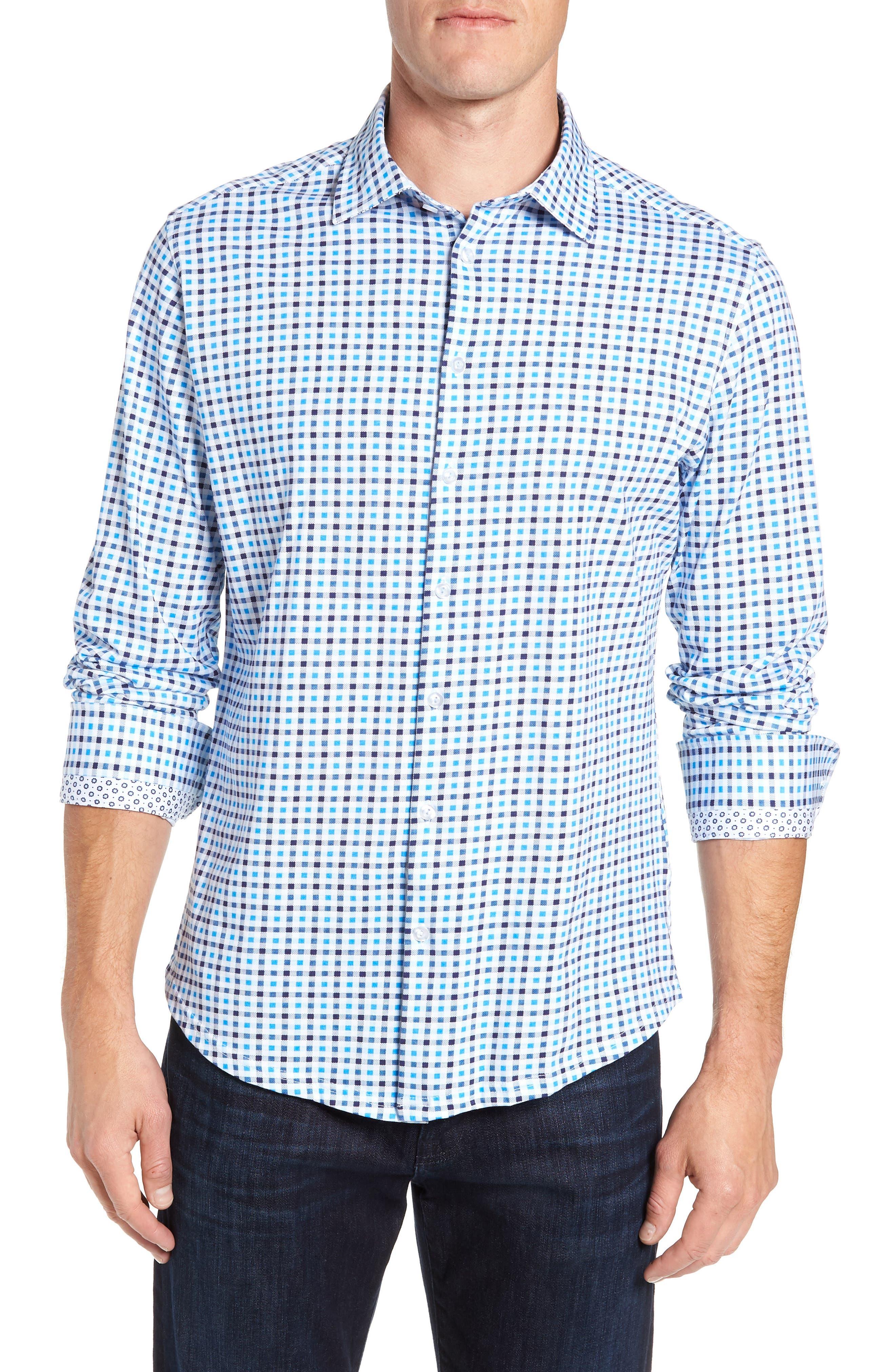 Trim Fit Knit Sport Shirt,                         Main,                         color, BLUE