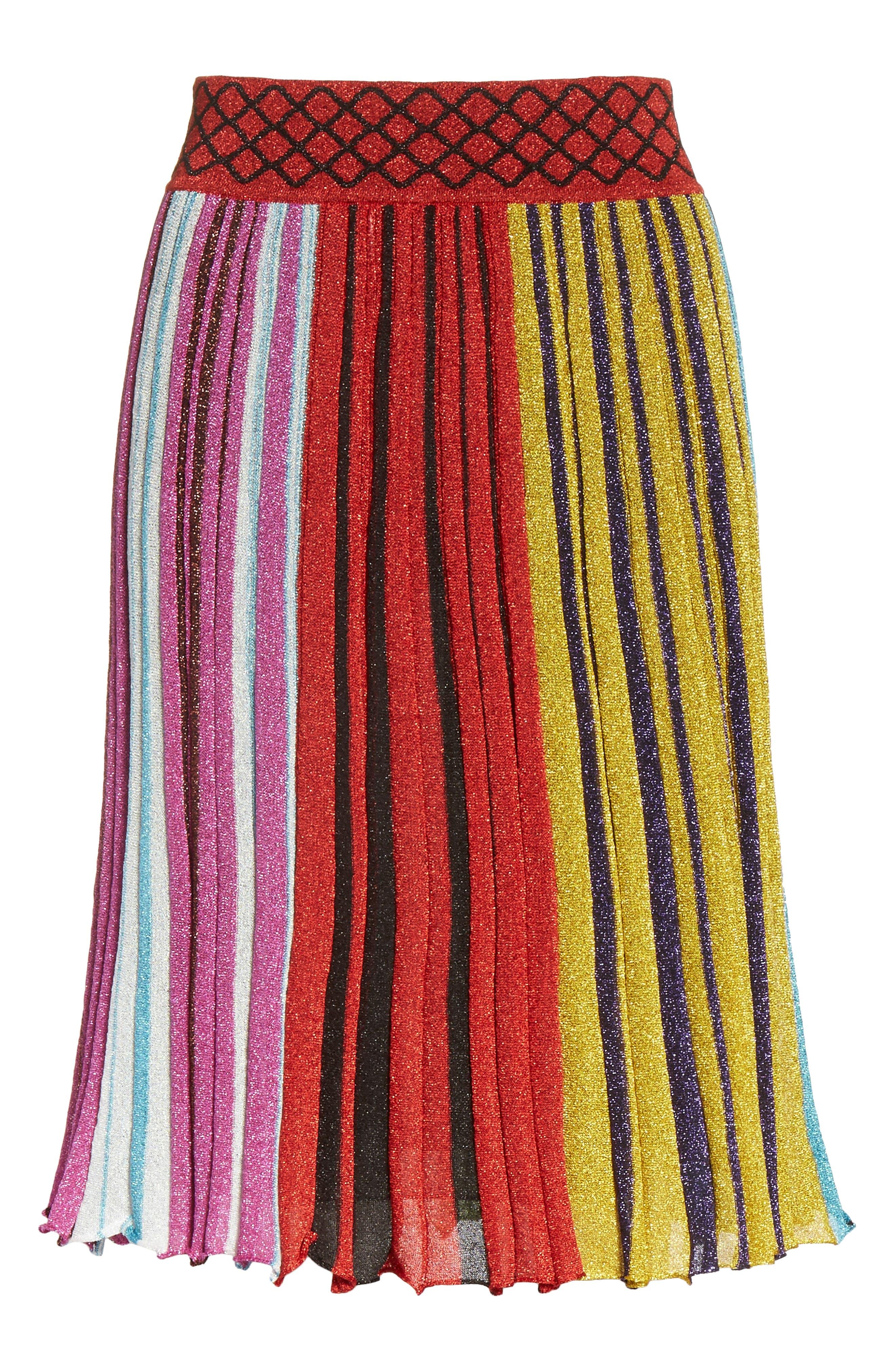 Metallic Stripe Skirt,                             Alternate thumbnail 6, color,                             640
