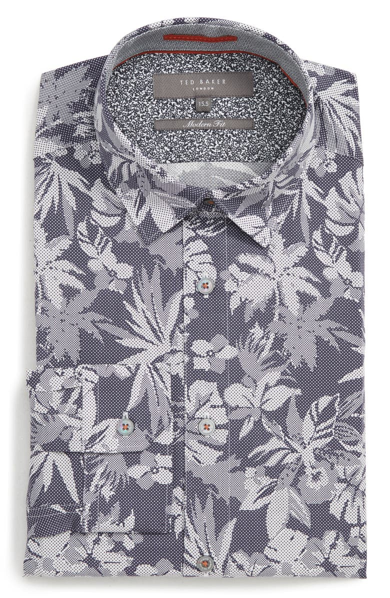 Pandar Slim Fit Stretch Floral Dress Shirt