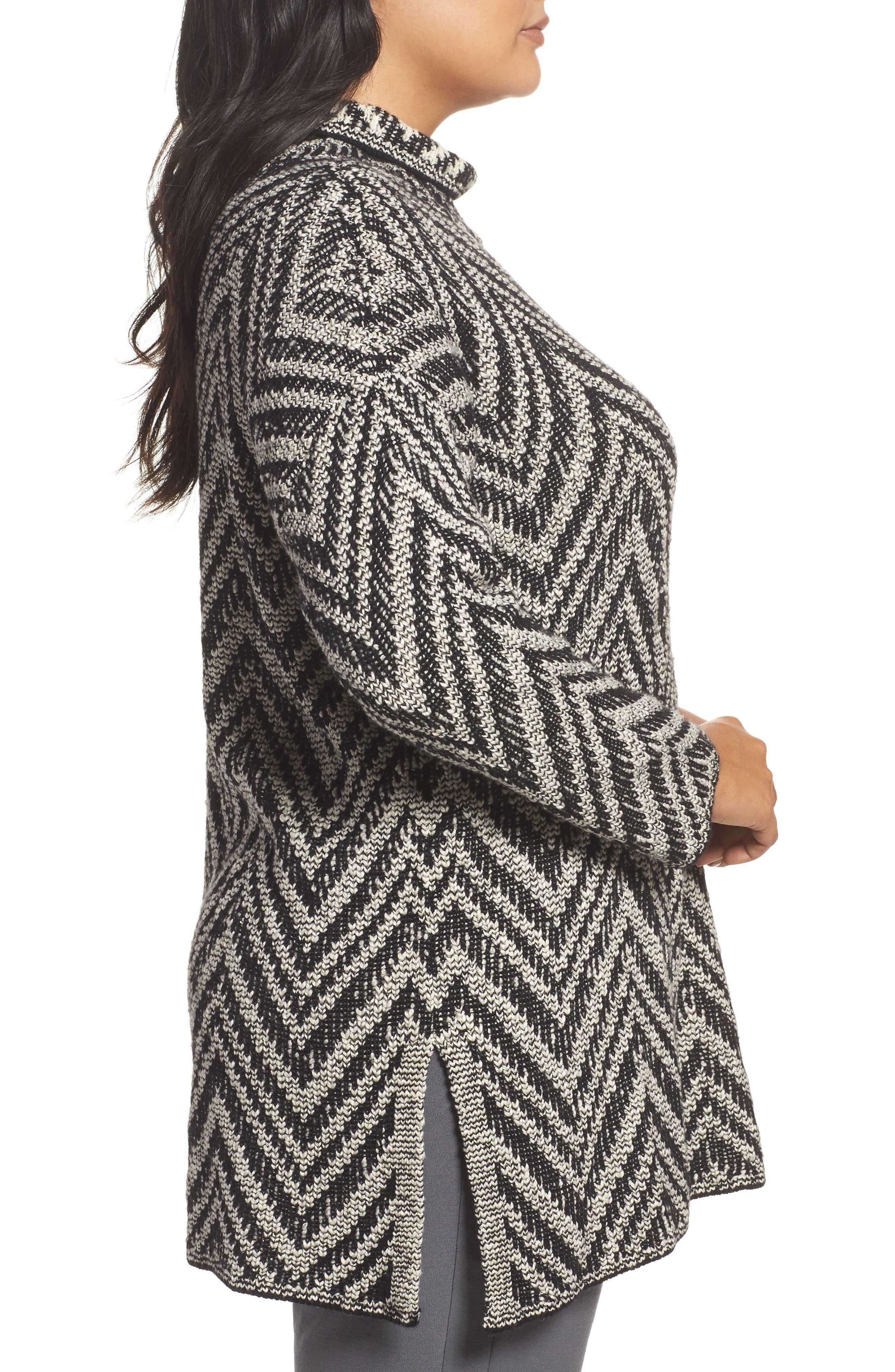 Zigzag Organic Cotton & Alpaca Tunic Sweater,                             Alternate thumbnail 3, color,                             012