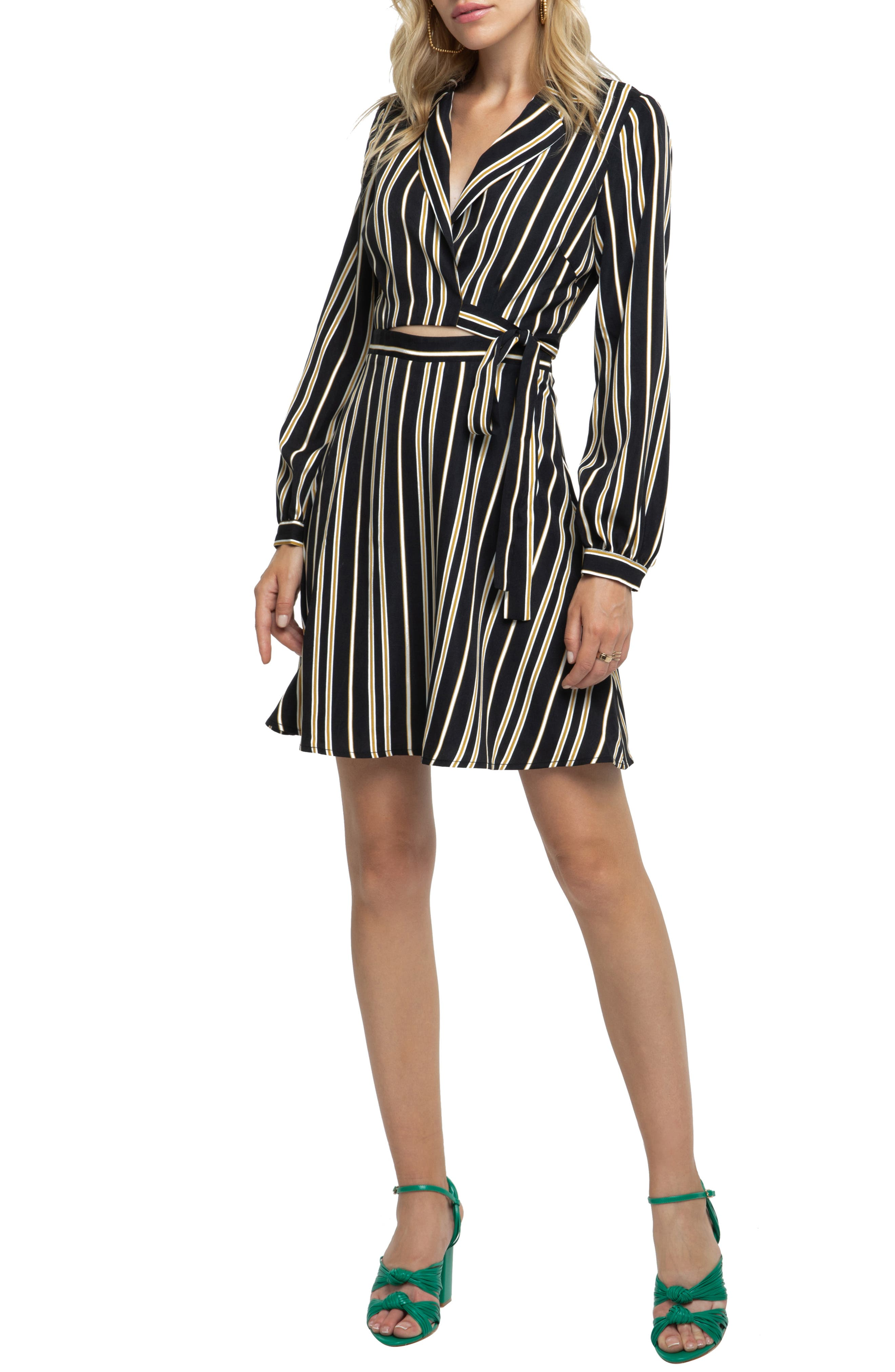 Astr The Label Cutout Wrap Dress, Black