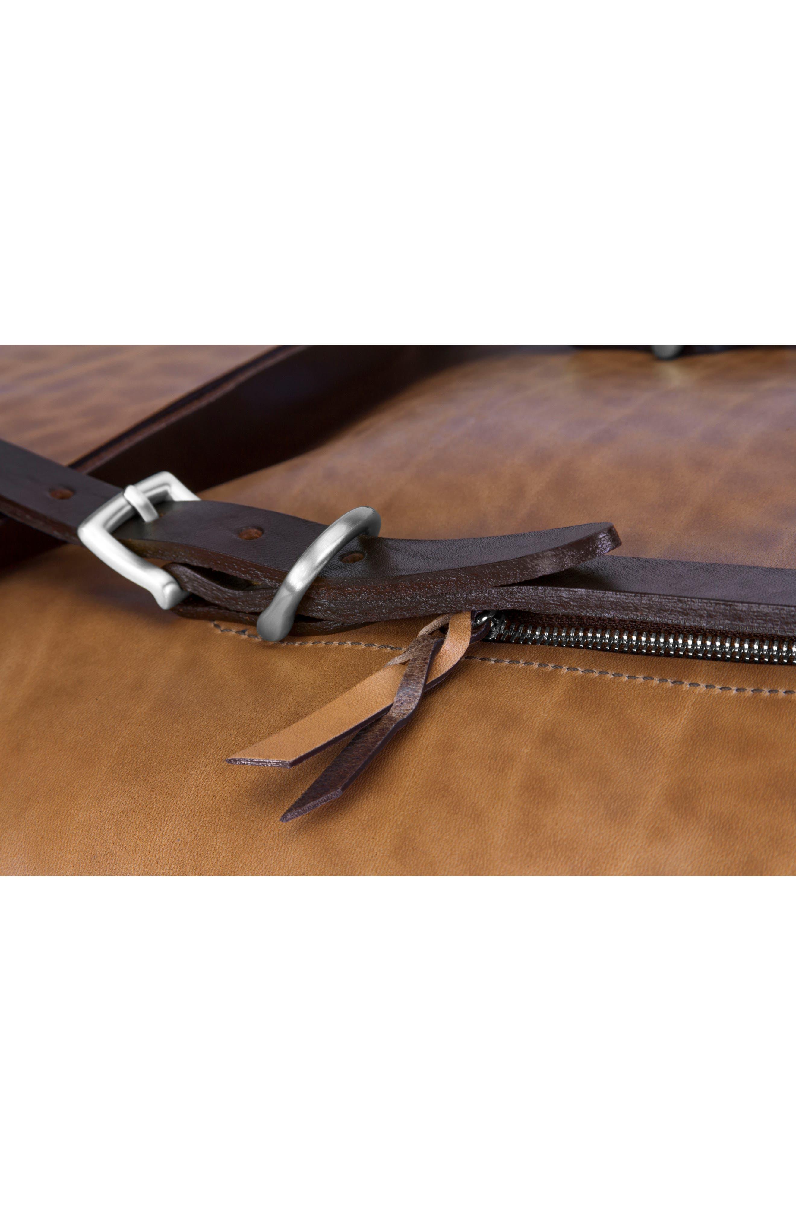 Keystone Nickel Detail Leather Rucksack,                             Alternate thumbnail 6, color,                             WHISKEY / NICKEL