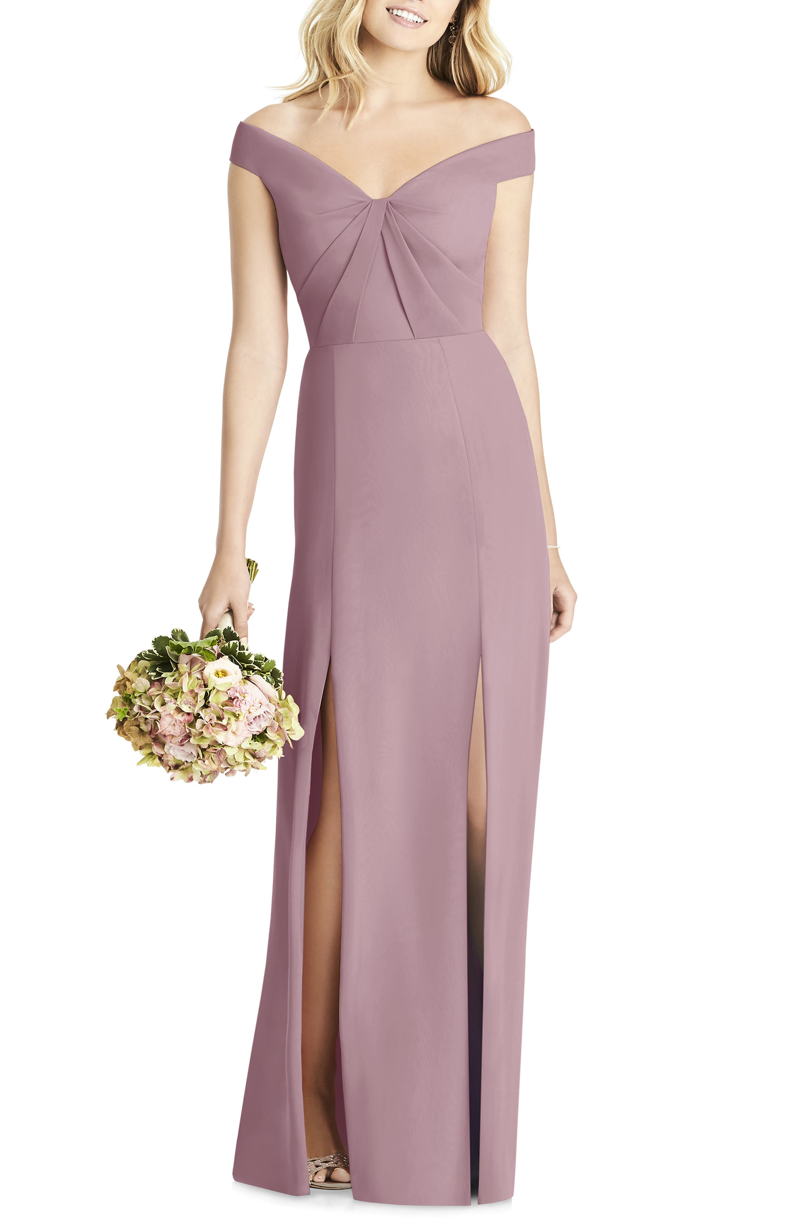 Social Bridesmaids Off The Shoulder Chiffon Gown, Brown