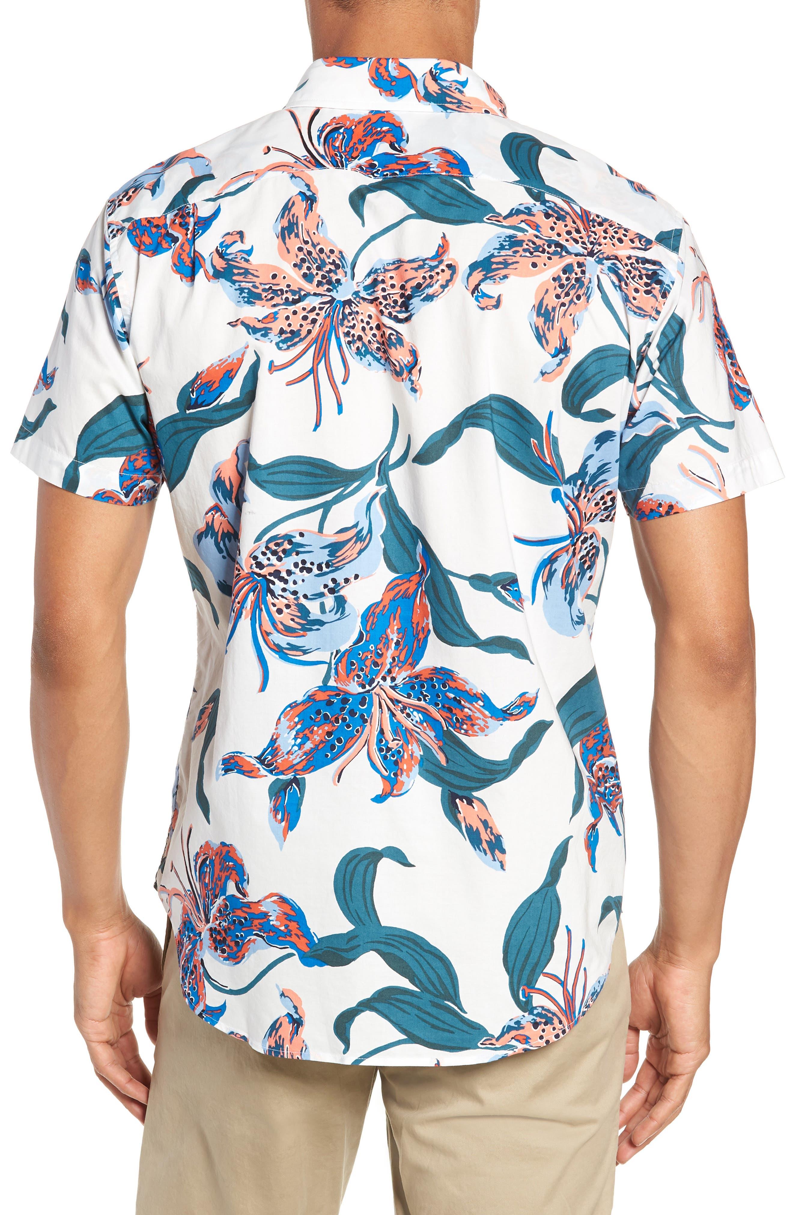 Riviera Slim Fit Floral Sport Shirt,                             Alternate thumbnail 3, color,                             BRIGHTON FLORAL - BLUE LEGACY
