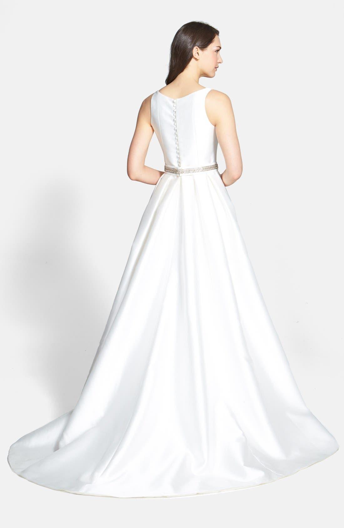 Embellished Waist Mikado A-Line Dress,                             Alternate thumbnail 2, color,                             IVORY