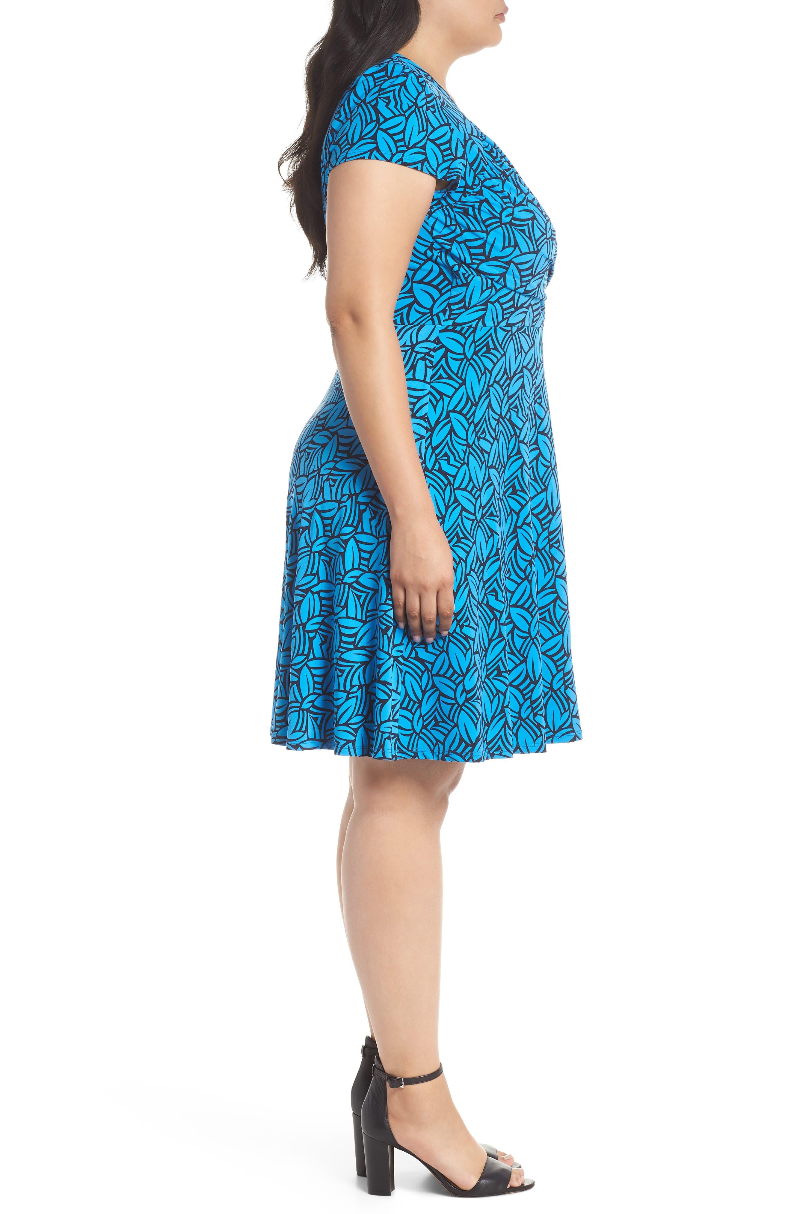 Faux Wrap Jersey Dress,                             Alternate thumbnail 3, color,                             FORGE BLITHE