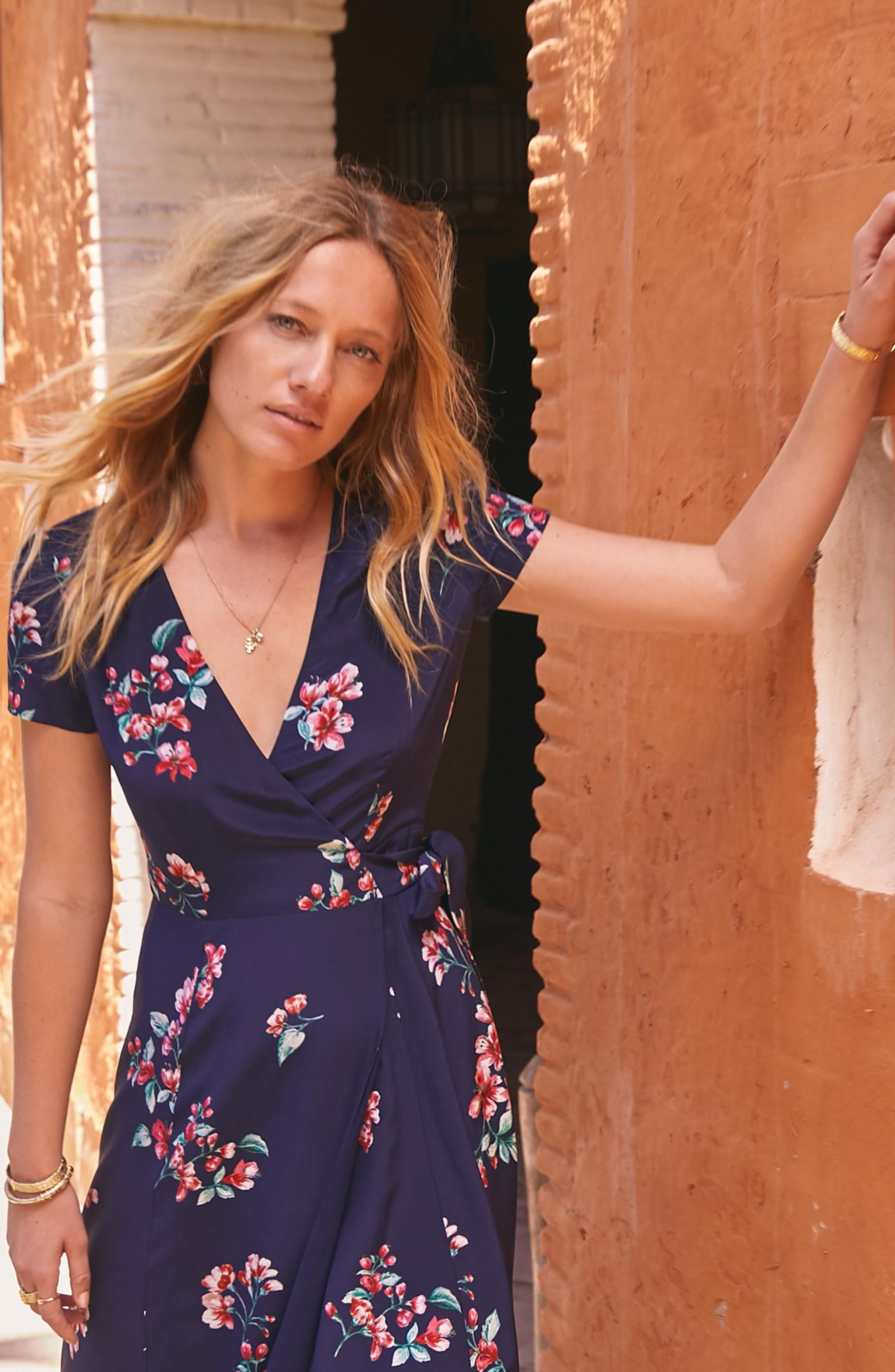 Amber Floral Silk Wrap Dress,                             Alternate thumbnail 7, color,                             400