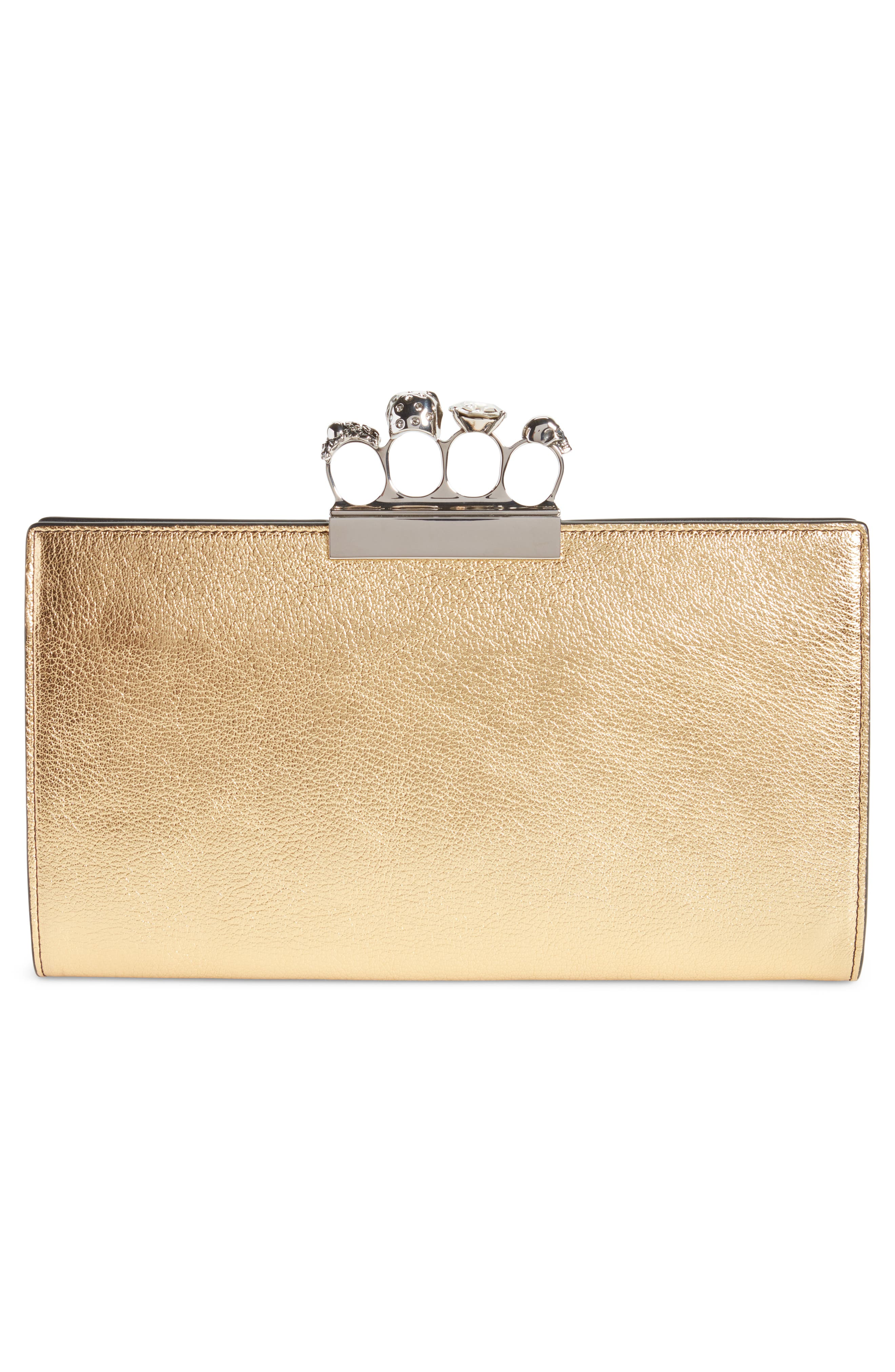 Knuckle Clasp Metallic Leather Clutch,                             Alternate thumbnail 3, color,                             710