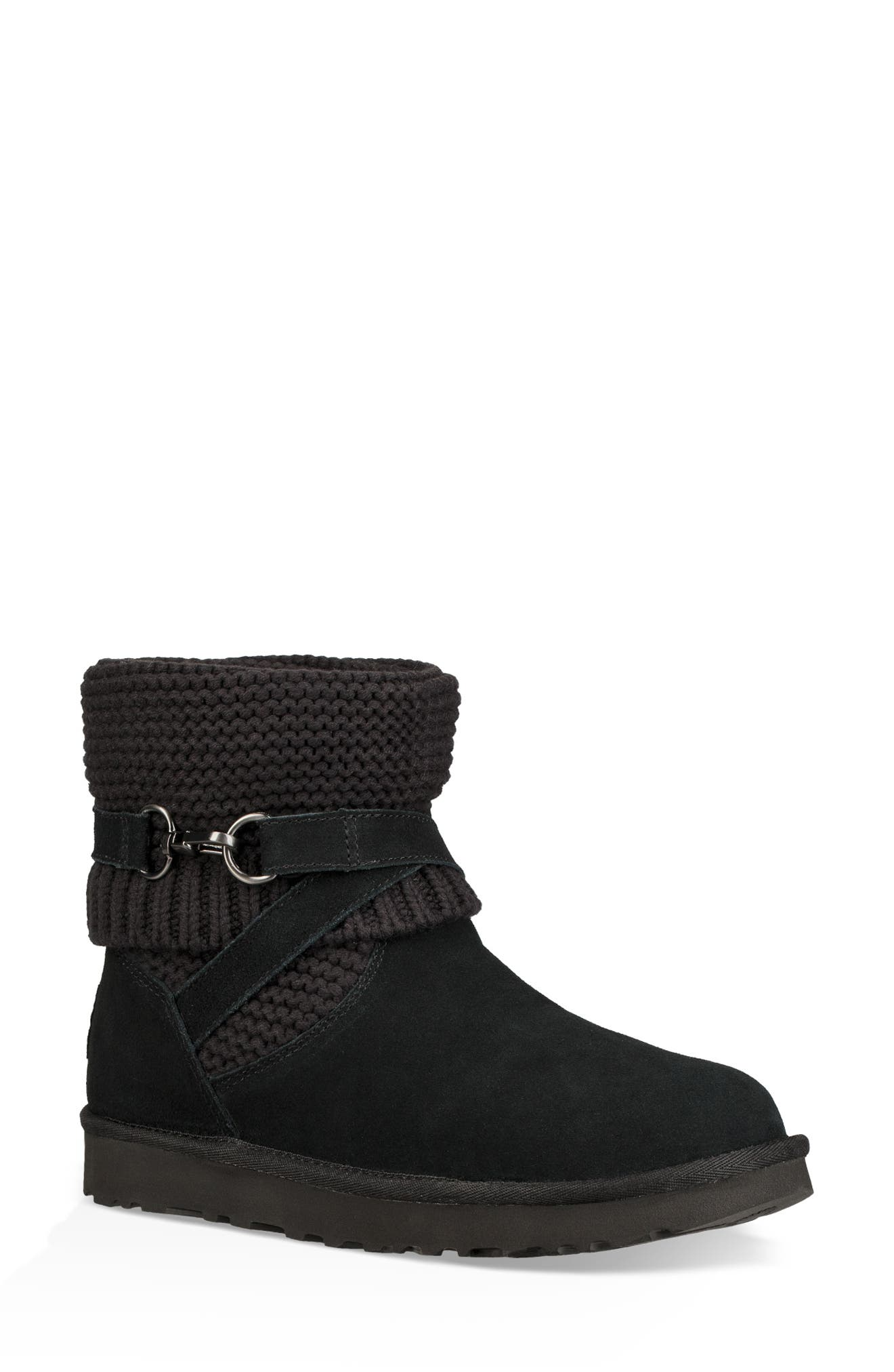 UGGpure<sup>™</sup> Strappy Purl Knit Bootie,                             Alternate thumbnail 2, color,                             BLACK SUEDE