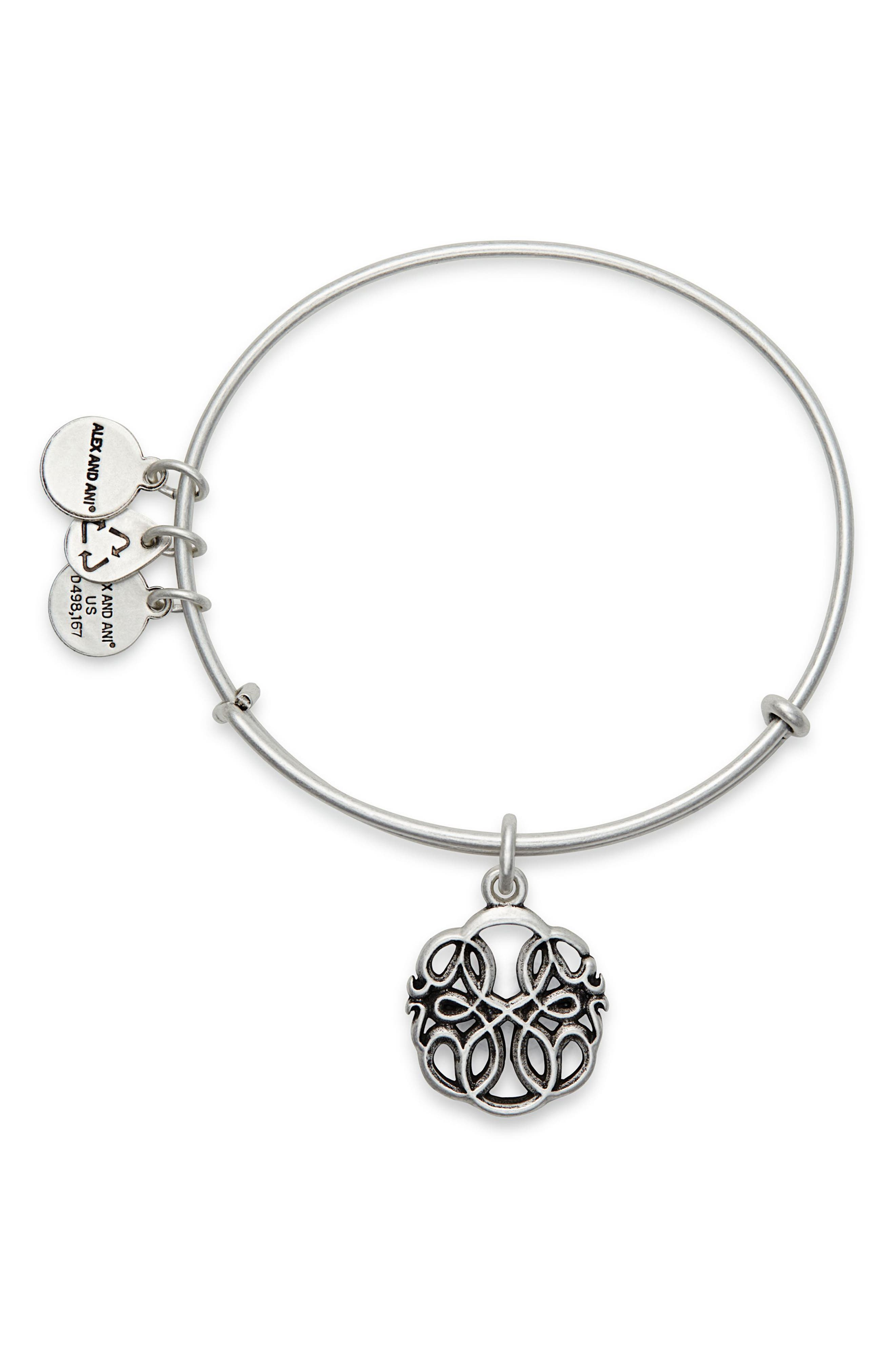 Path of Life Adjustable Wire Bangle,                             Alternate thumbnail 2, color,                             RUSSIAN SILVER