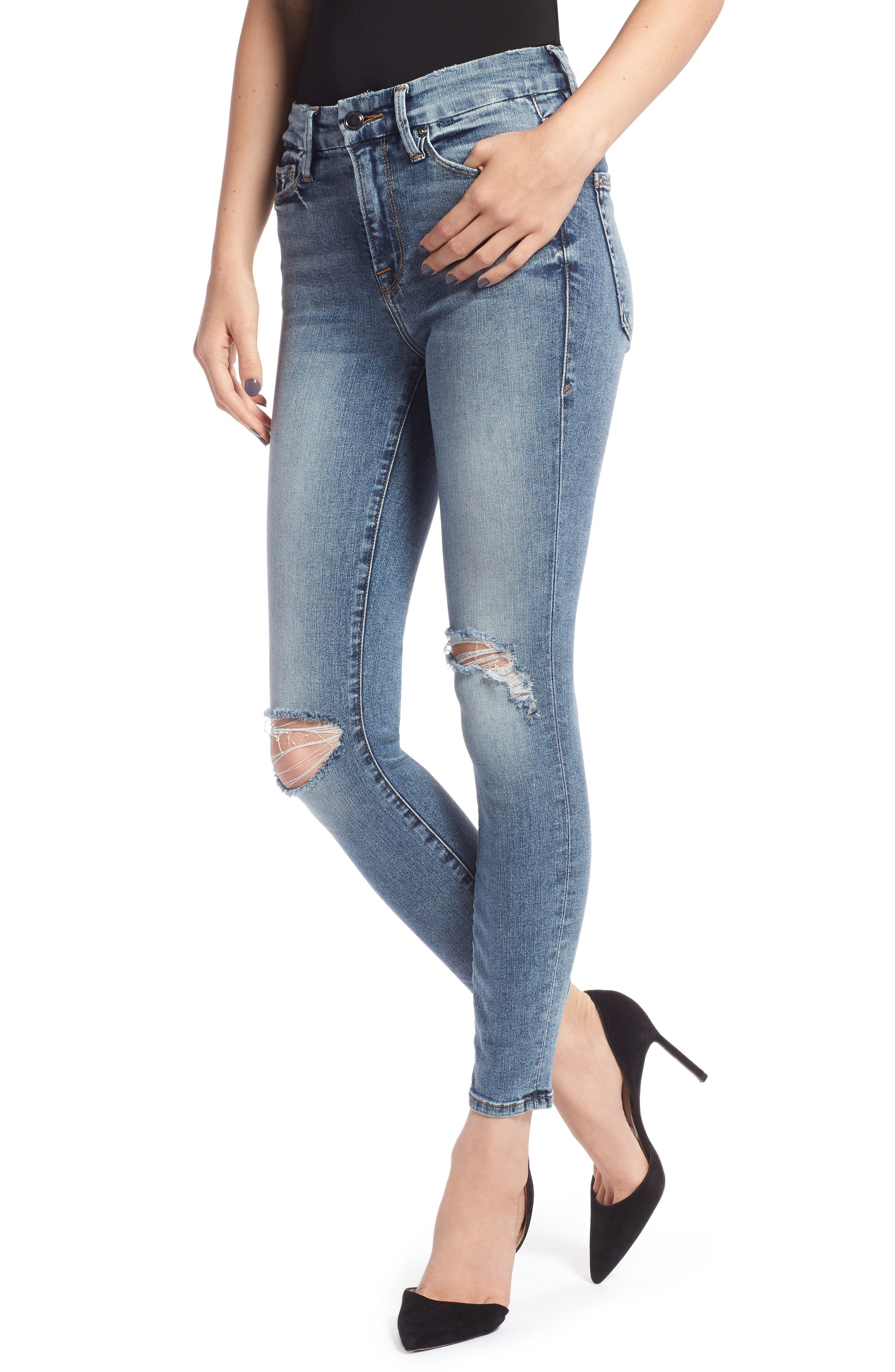 Good Legs Ankle Skinny Jeans, Main, color, BLUE 129