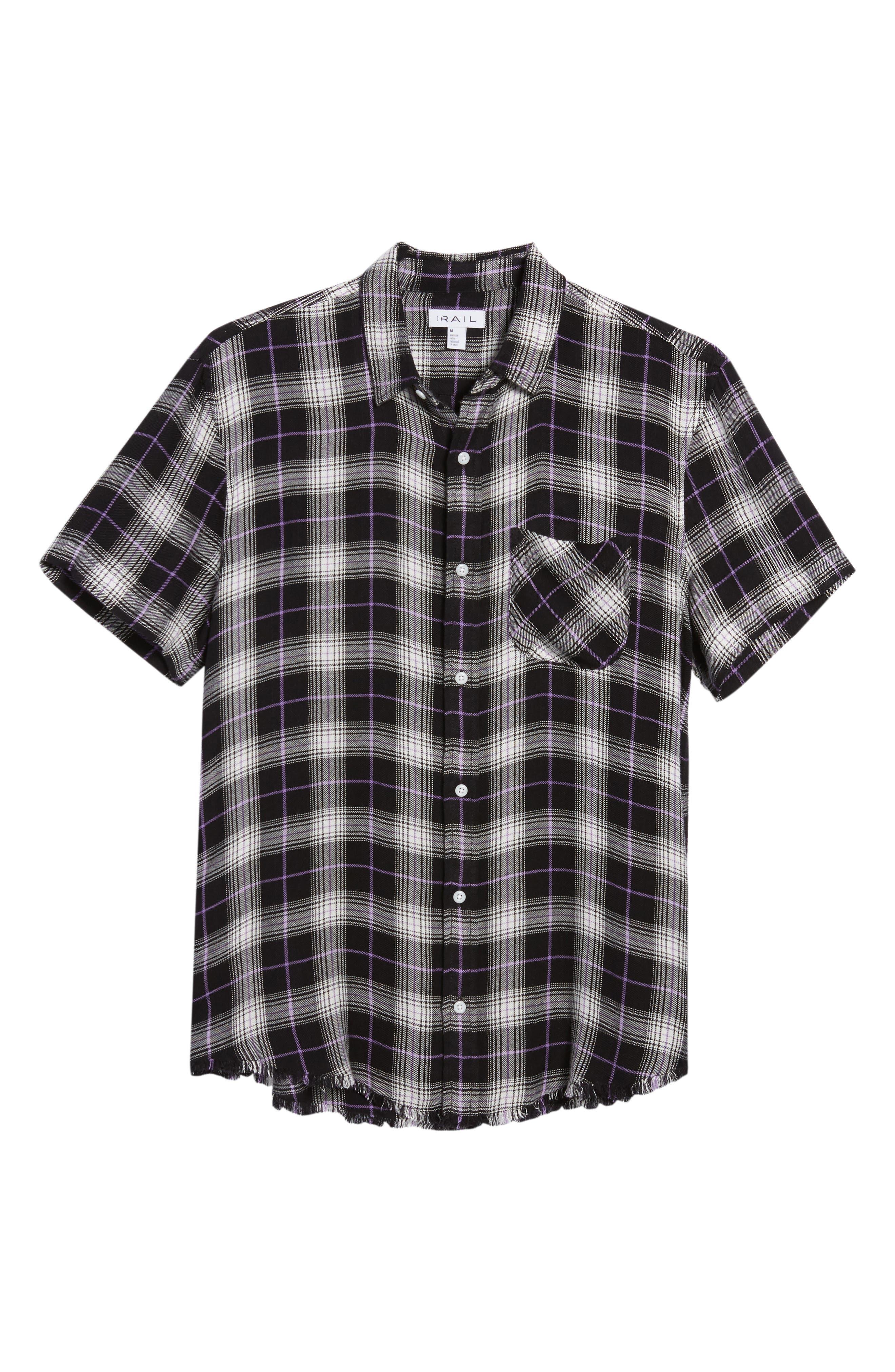 Drapey Plaid Short Sleeve Shirt,                             Alternate thumbnail 6, color,                             BLACK ROCK CODY PLAID