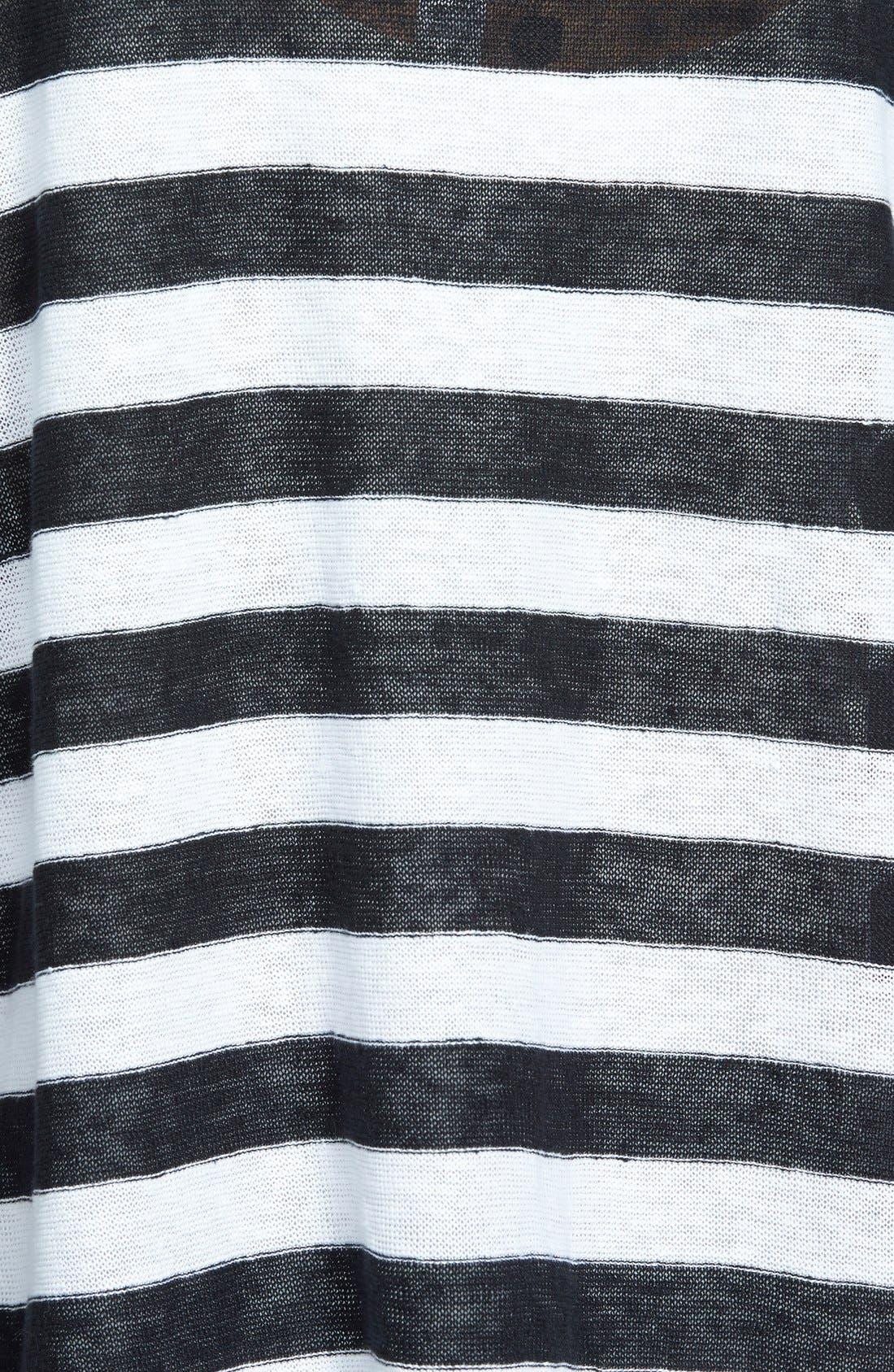 Ballet Neck Stripe Organic Linen Top,                             Alternate thumbnail 3, color,                             018