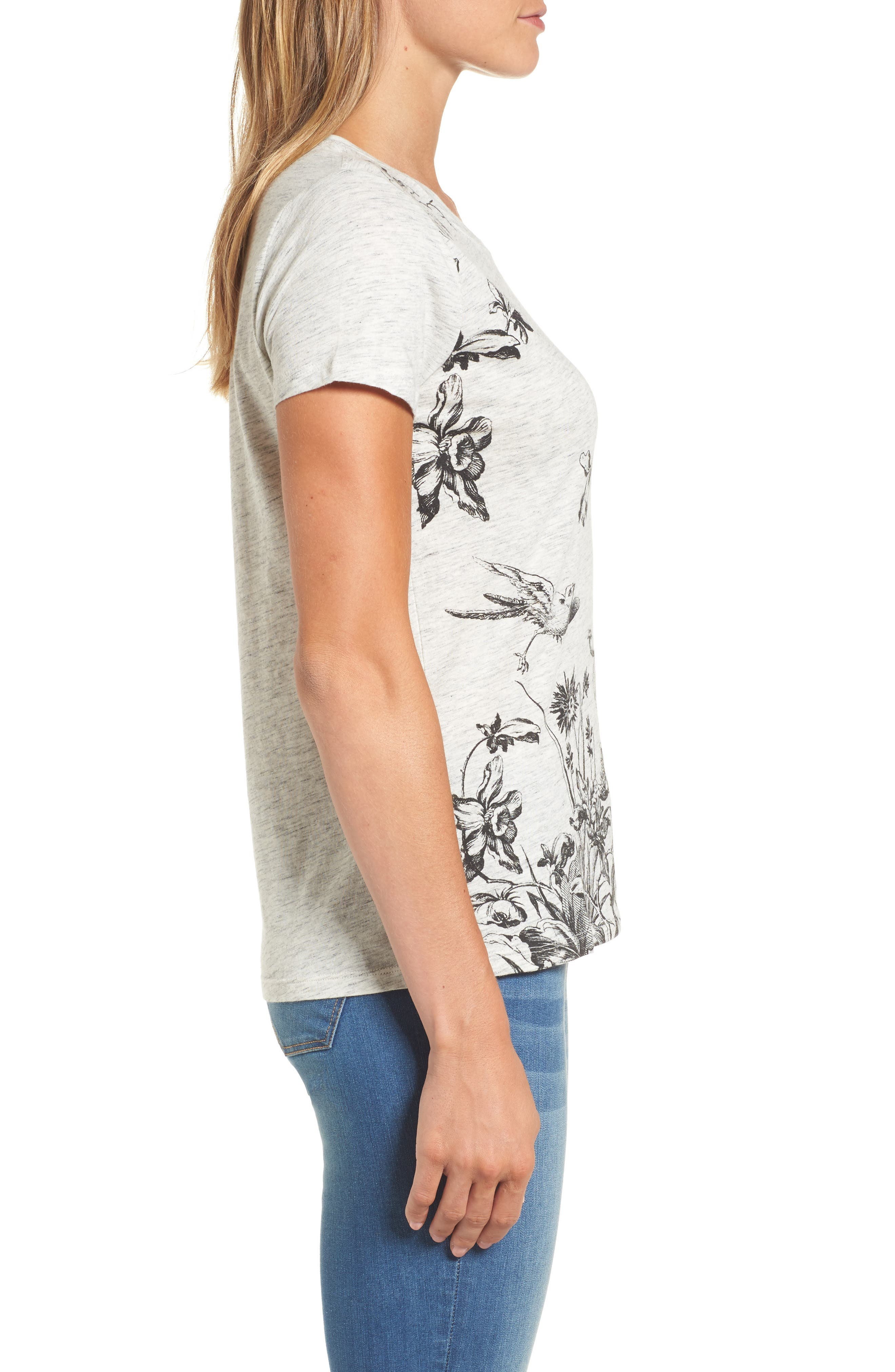 Floral Print Tee,                             Alternate thumbnail 3, color,