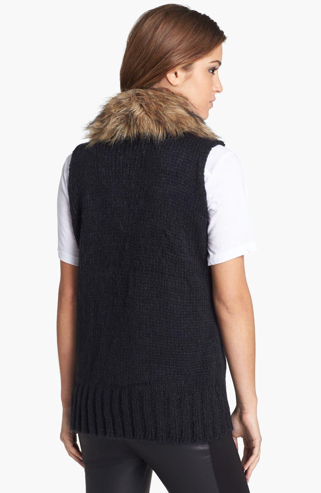 BB DAKOTA,                             'Perri' Faux Fur Collar Knit Vest,                             Alternate thumbnail 3, color,                             001