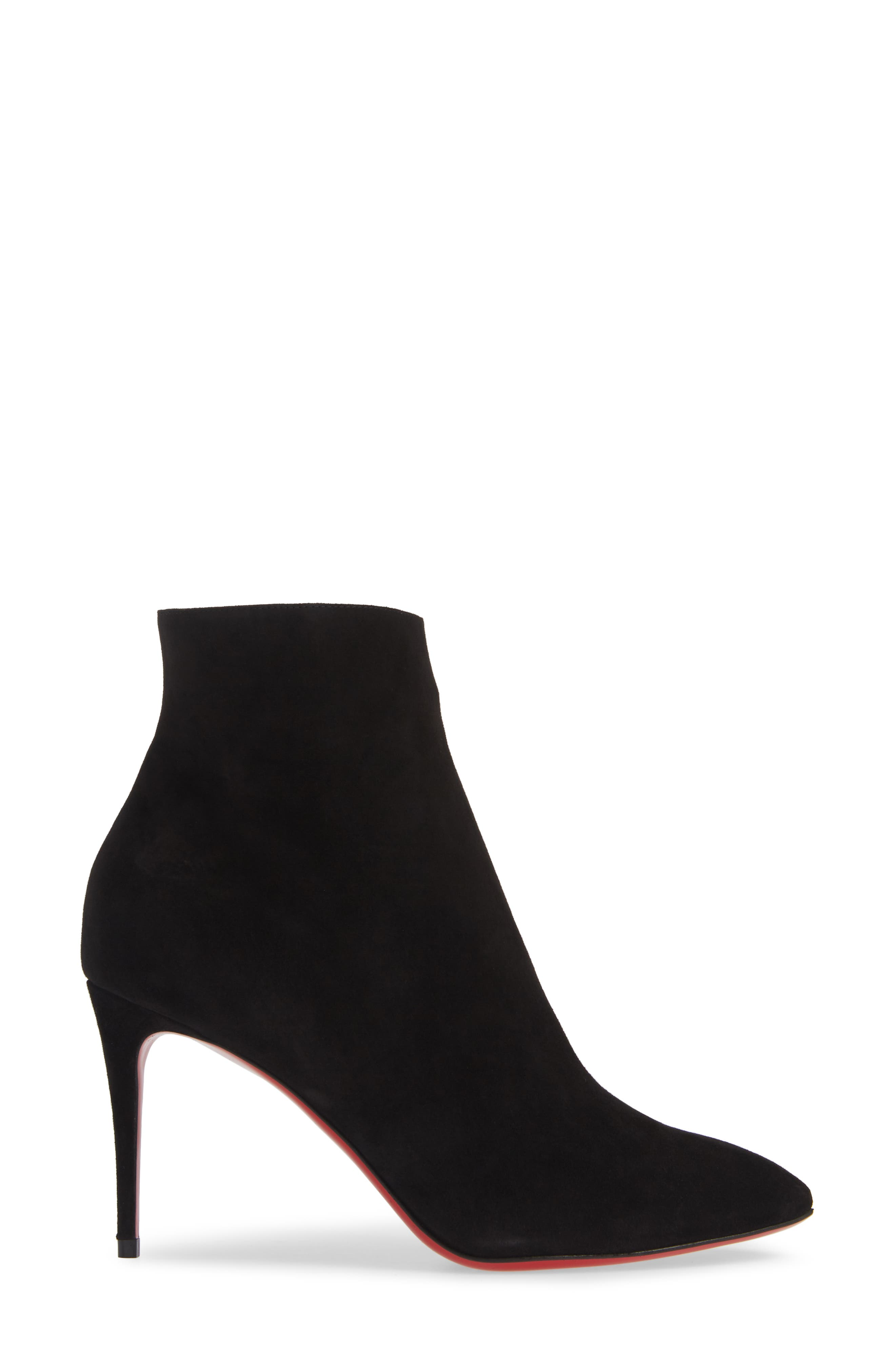Eloise Pointy Toe Bootie,                             Alternate thumbnail 3, color,                             BLACK SUEDE