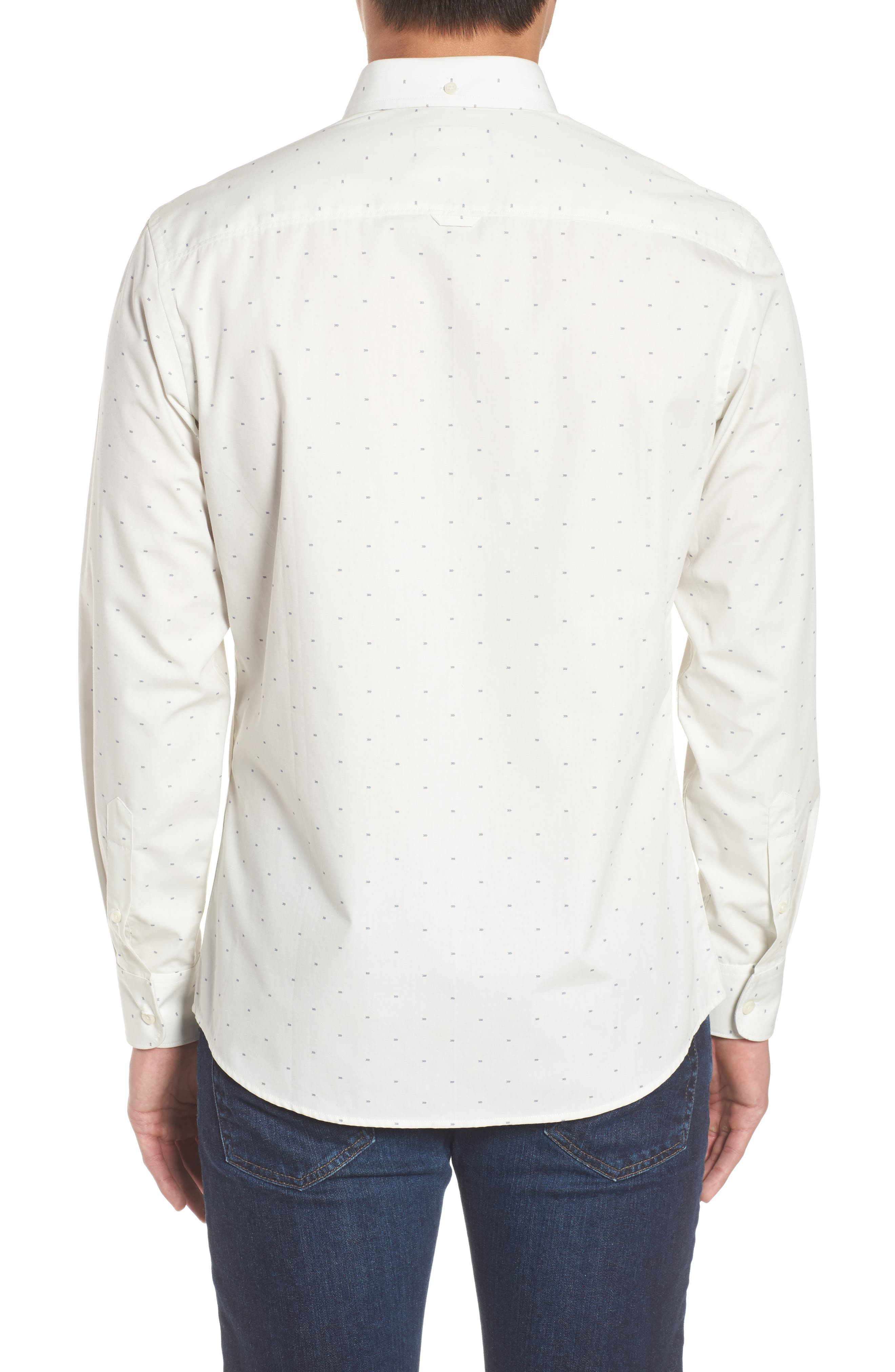 Trim Fit Non-Iron Dobby Sport Shirt,                             Alternate thumbnail 2, color,                             900